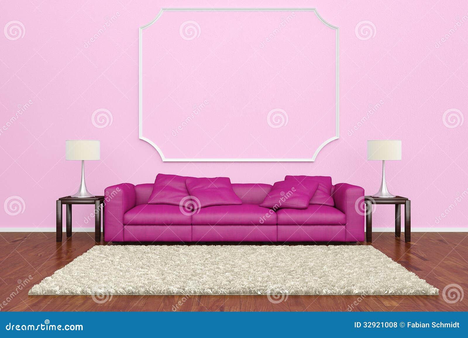 pink sofa with wall decoration stock illustration. Black Bedroom Furniture Sets. Home Design Ideas
