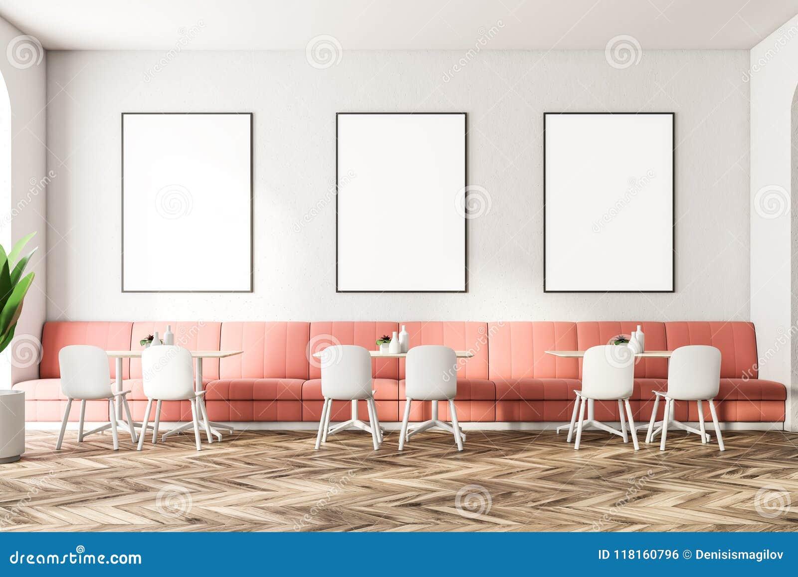 Pink Sofas Restaurant Interior Poster Gallery Stock Illustration Illustration Of Beautiful Background 118160796