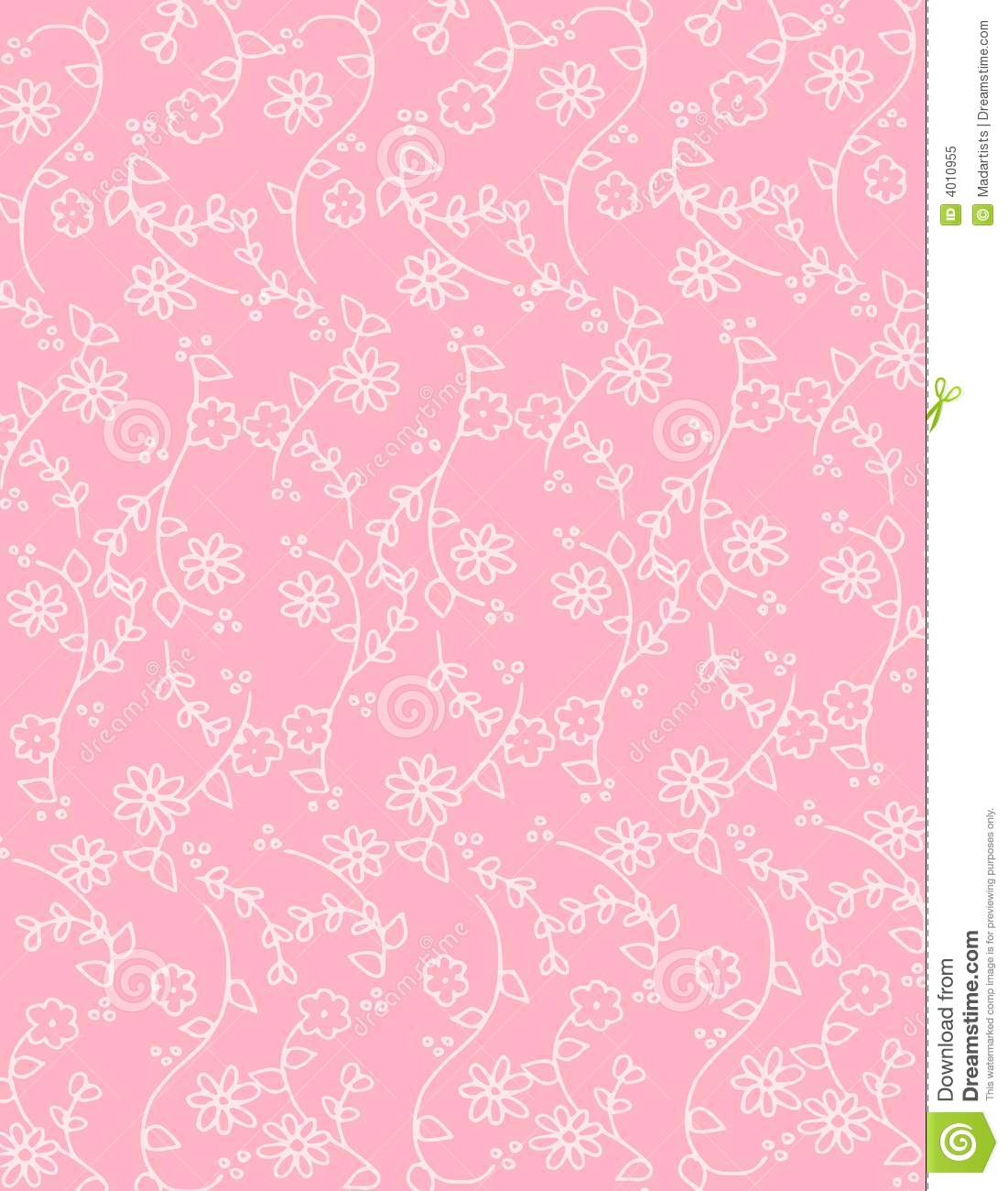 Pink Spring Flowers Background Pattern Stock Illustration