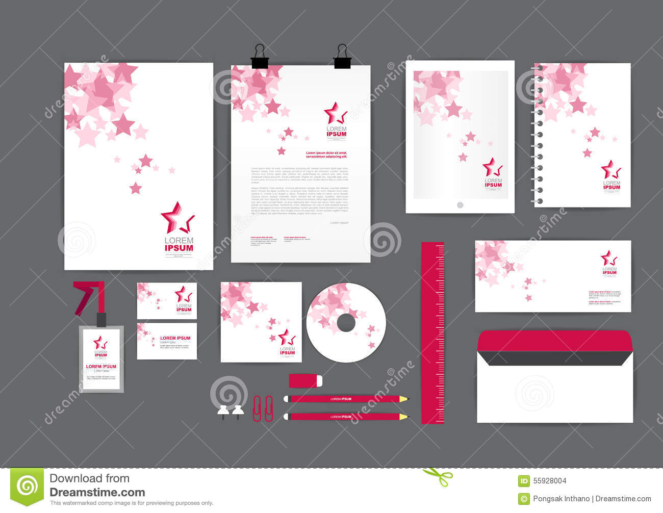 Pink with star corporate identity template for your business stock pink with star corporate identity template for your business reheart Choice Image