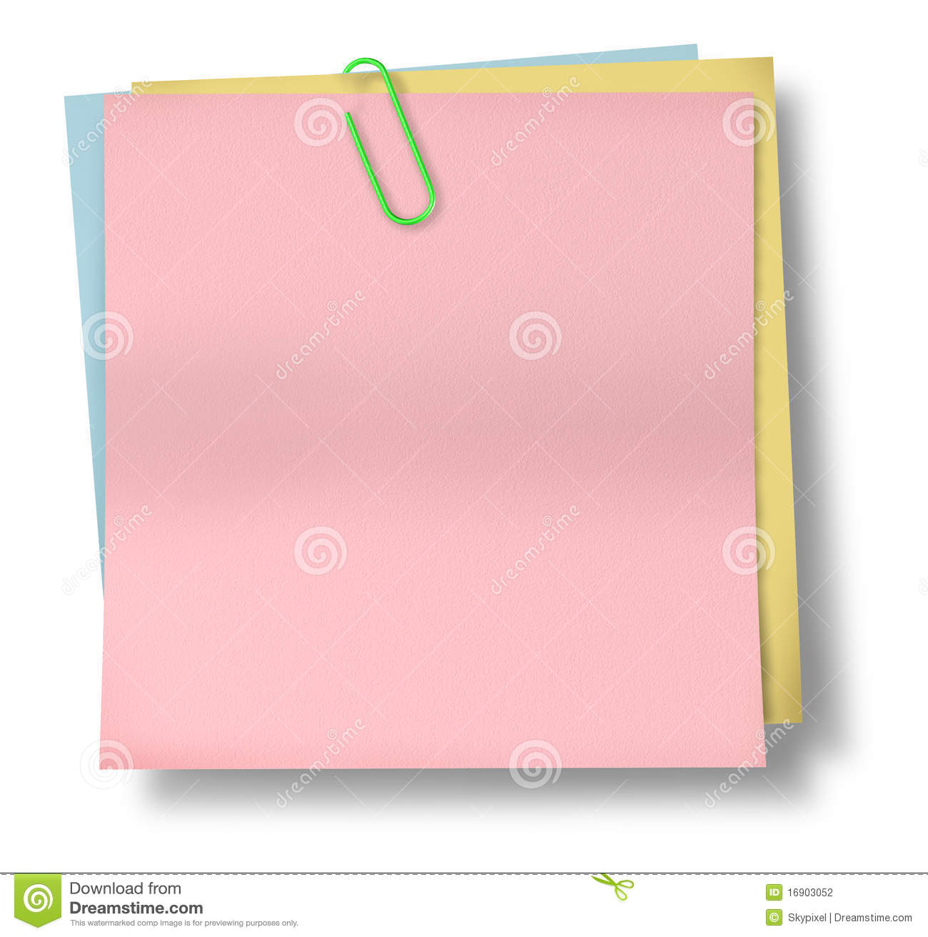 pink sticky note paper with paper clip isola stock photo