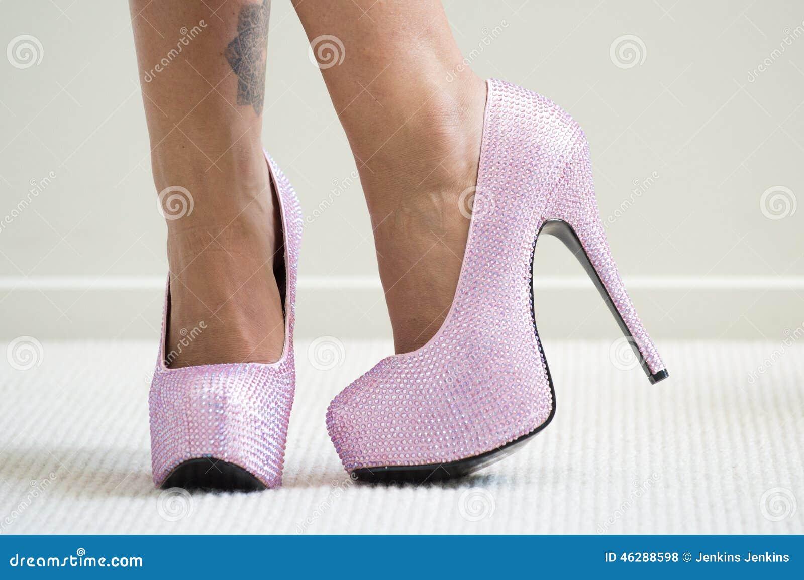 pink stilettos stock photo image 46288598. Black Bedroom Furniture Sets. Home Design Ideas