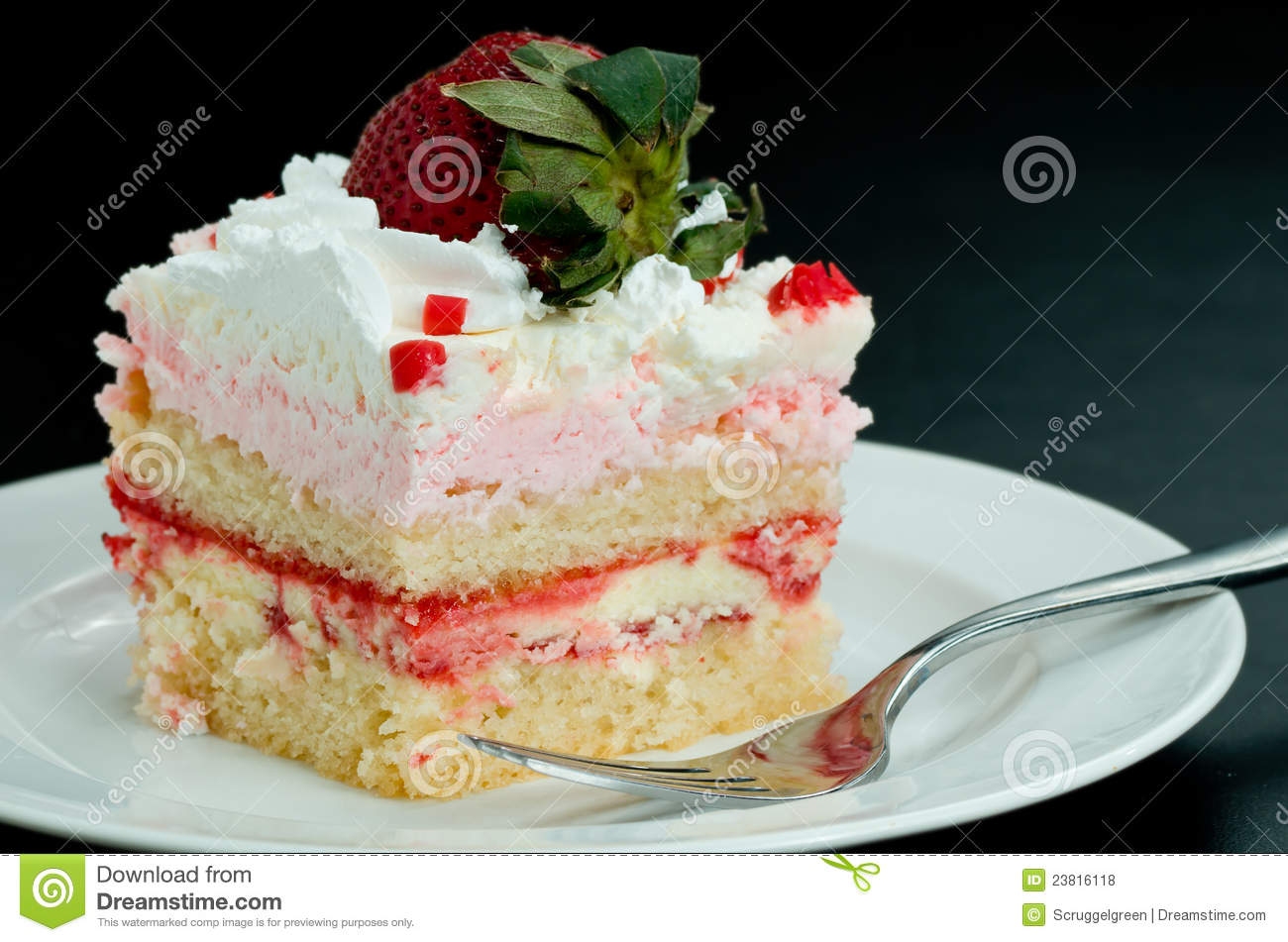 Pink Strawberry Whipped Cream Cake Slice Royalty Free Stock Photos ...