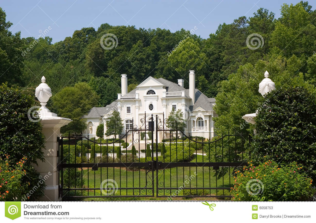 Pink Stucco Mansion Behind Iron Gate Stock Image Image