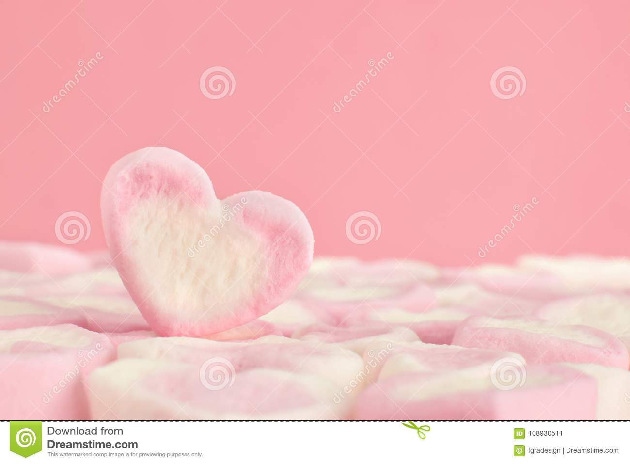 Pink Sweet Marshmallow Heart With Sugar Stock Image Image Of Love