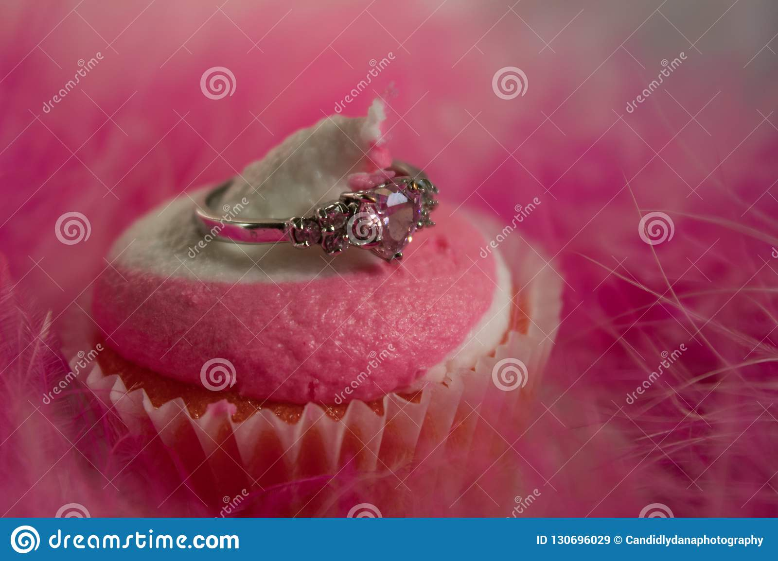 Pink Swirl Cupcake and a Heart Ring