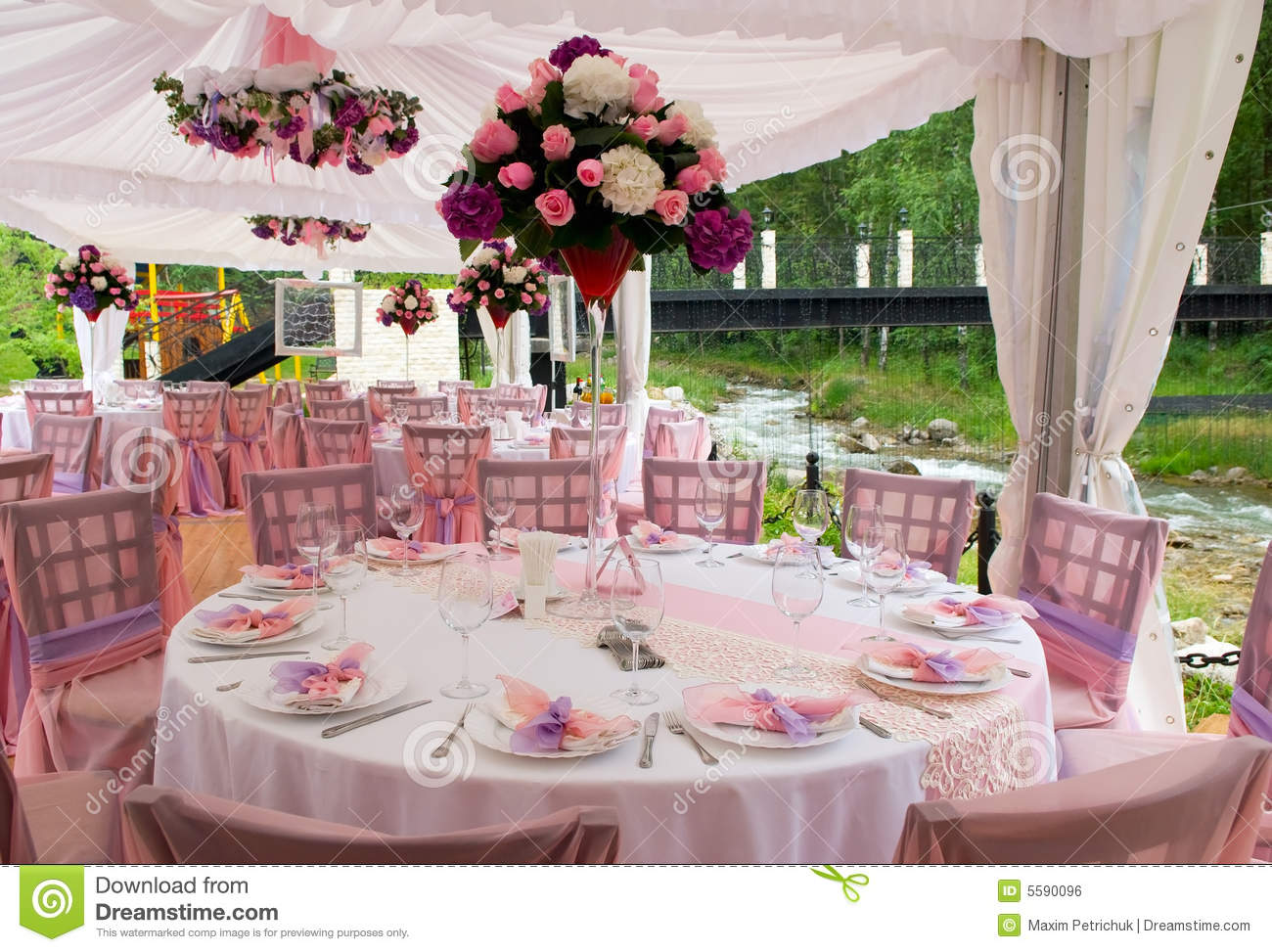Pink Tables In Outdoor Restaurant Stock Photo - Image of ...