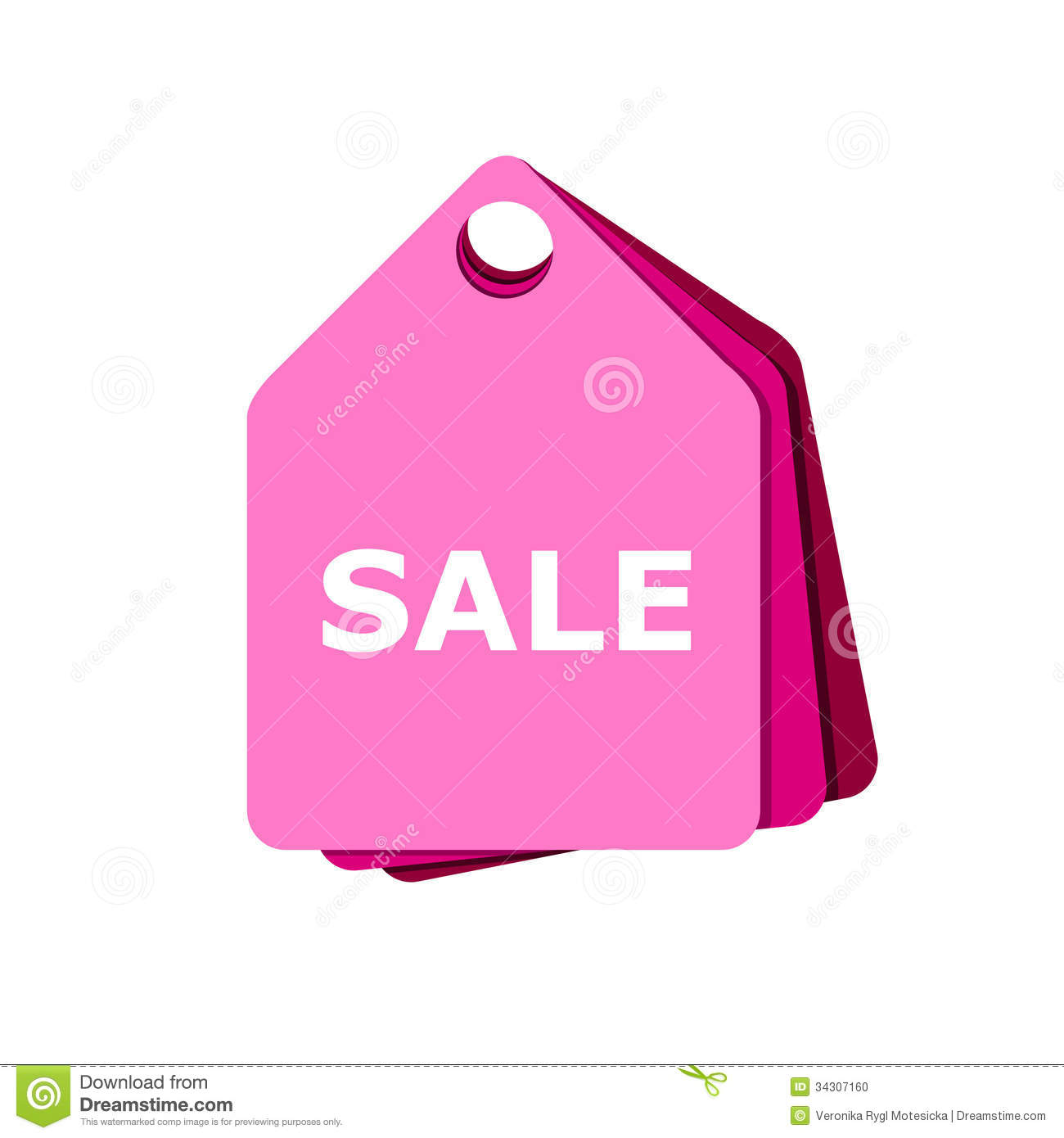 Sale: Pink Tag Sale Stock Photo