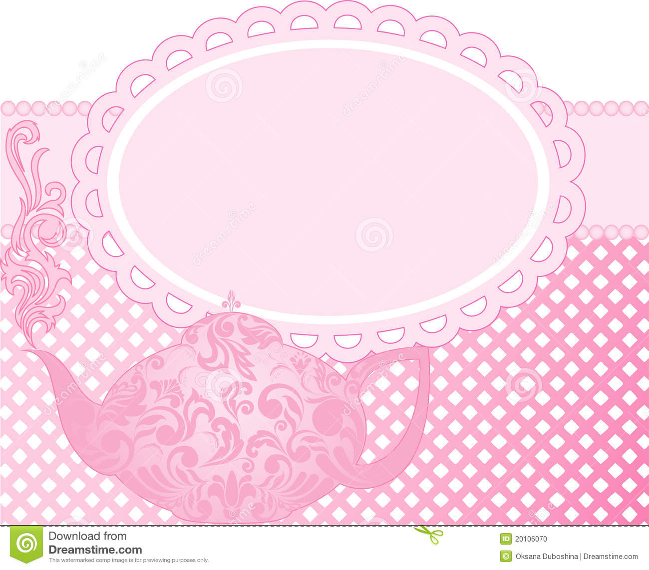 pink teapot stock vector image of delicious drink doily