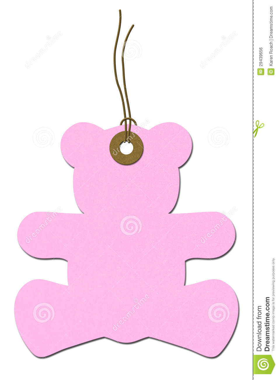 Pink Teddy Bear Baby Shower Gift Tag