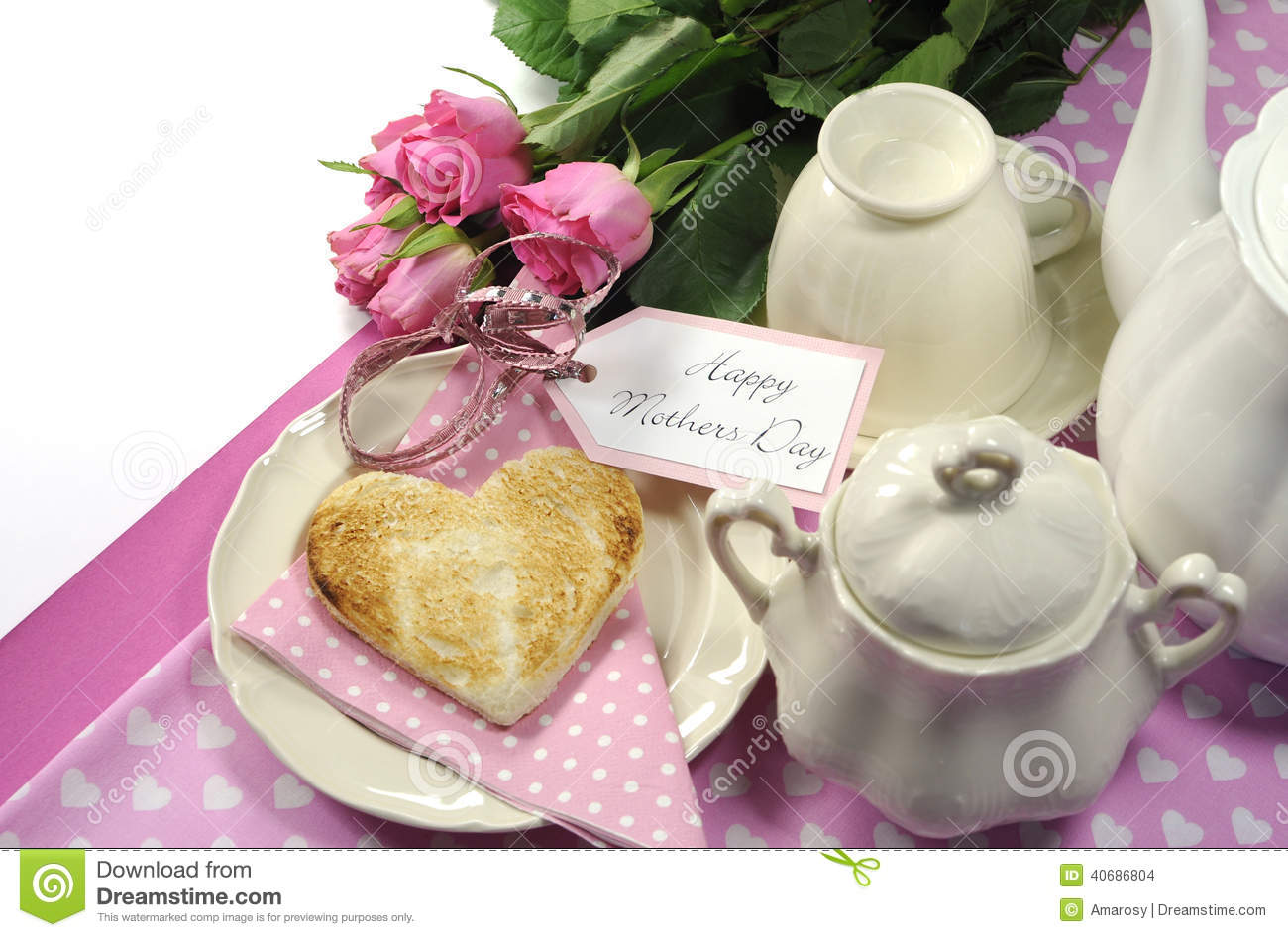 Pink theme Happy Mothers Day breakfast in bed with tea cup and tea pot ...