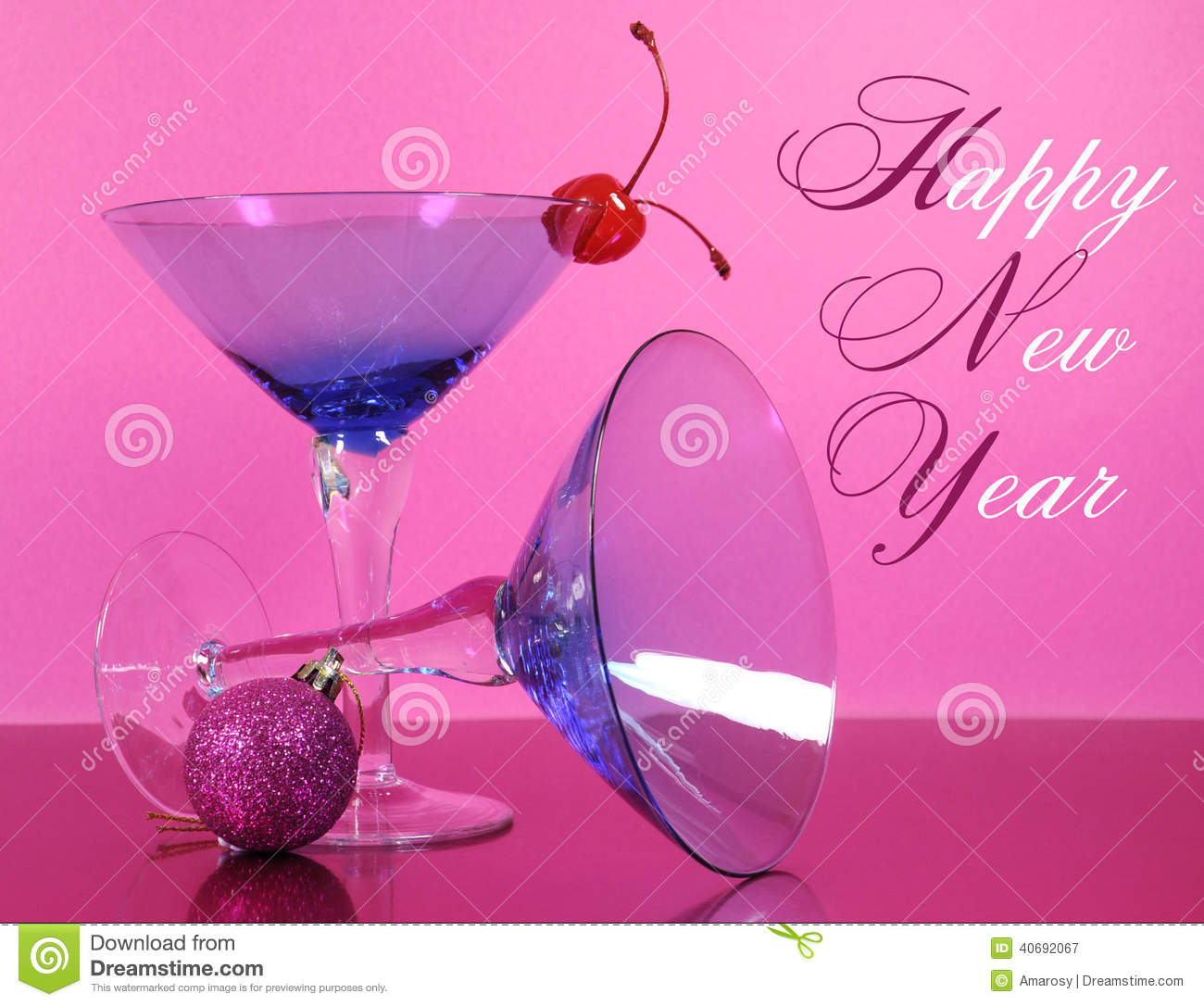 pink theme happy new year party with vintage blue martini cocktail glass and new years eve decorations stock photo 40692067 megapixl