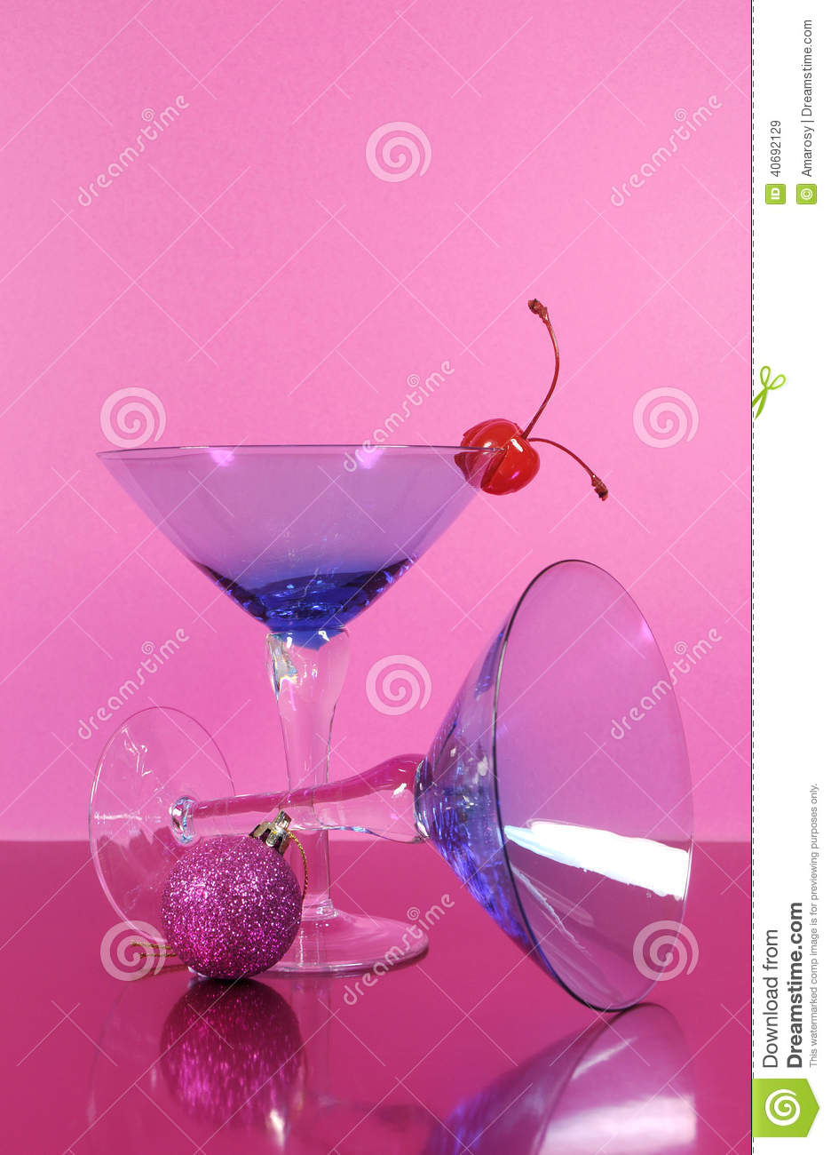 Pink Theme Happy New Year Party With Vintage Blue Martini Cocktail ...