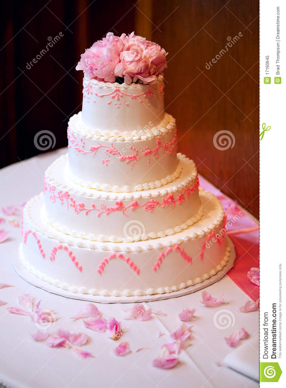wedding cake roses pink pink tiered wedding cake with pink flowers stock image 23713