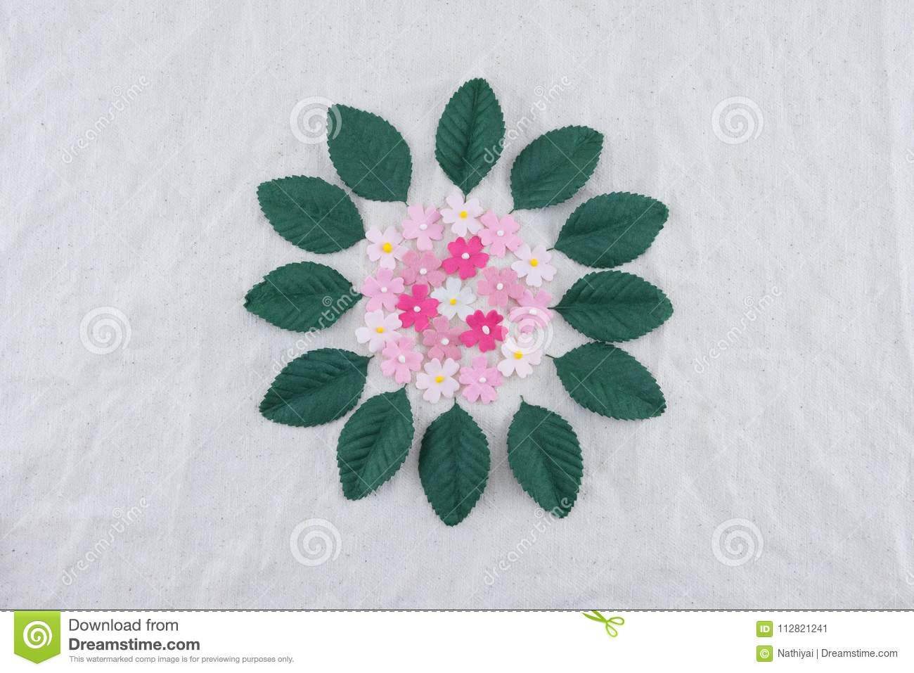 Pink Tone Paper Flowers And Green Leaves Stock Image Image Of