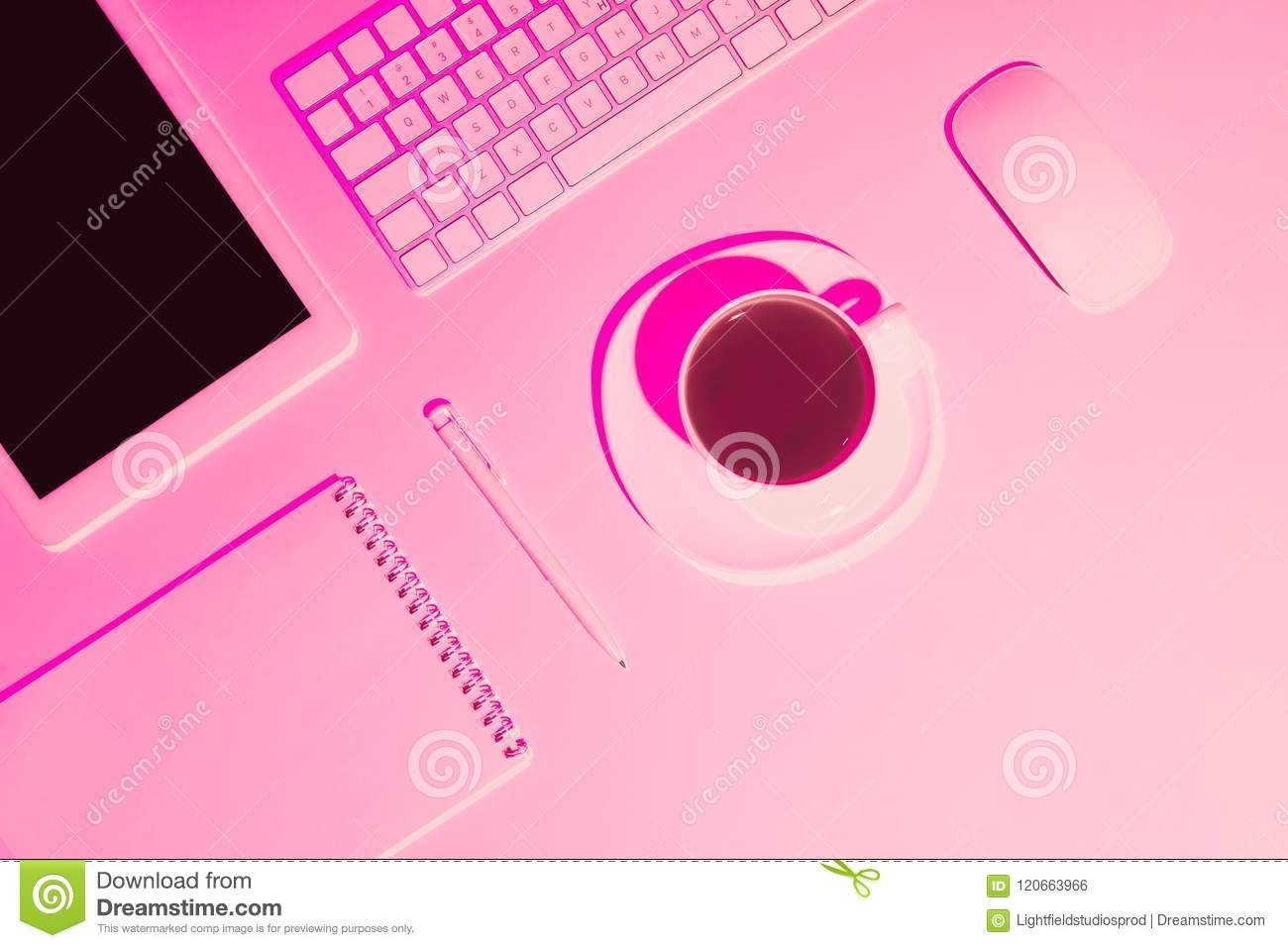 Pink Toned Picture Of Coffee Cup, Digital Tablet, Pen