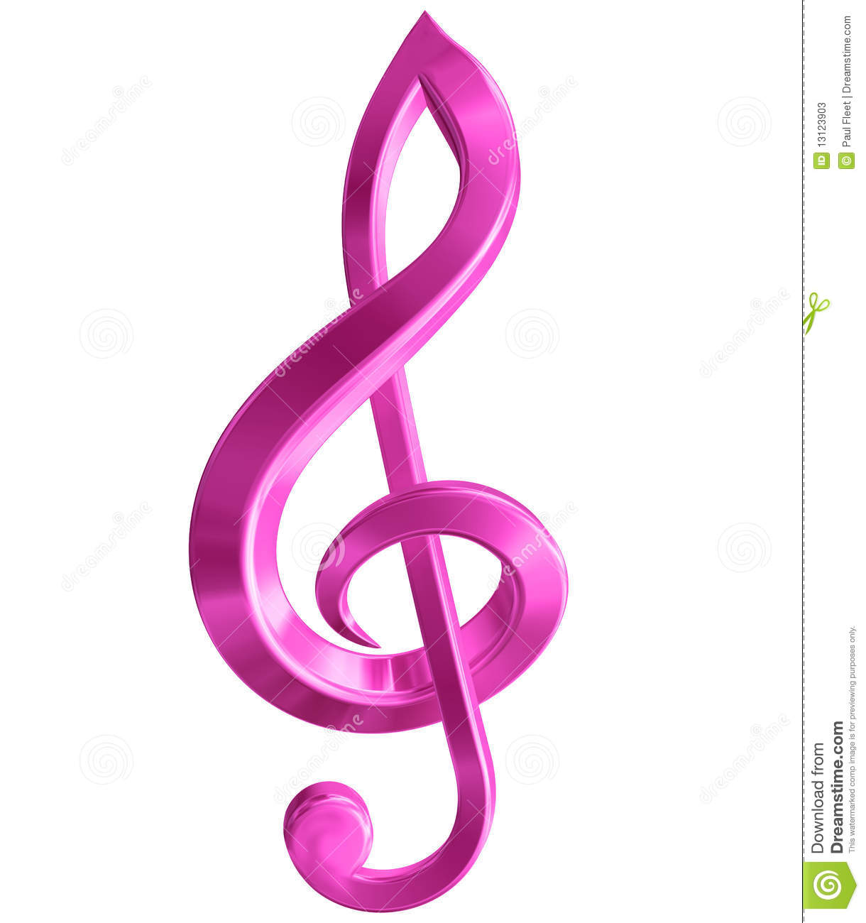 Original isolated illustration of a pink music symbol.