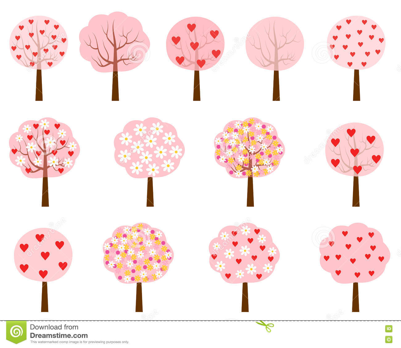 Pink Trees With Hearts And Flowers Stock Vector Illustration Of