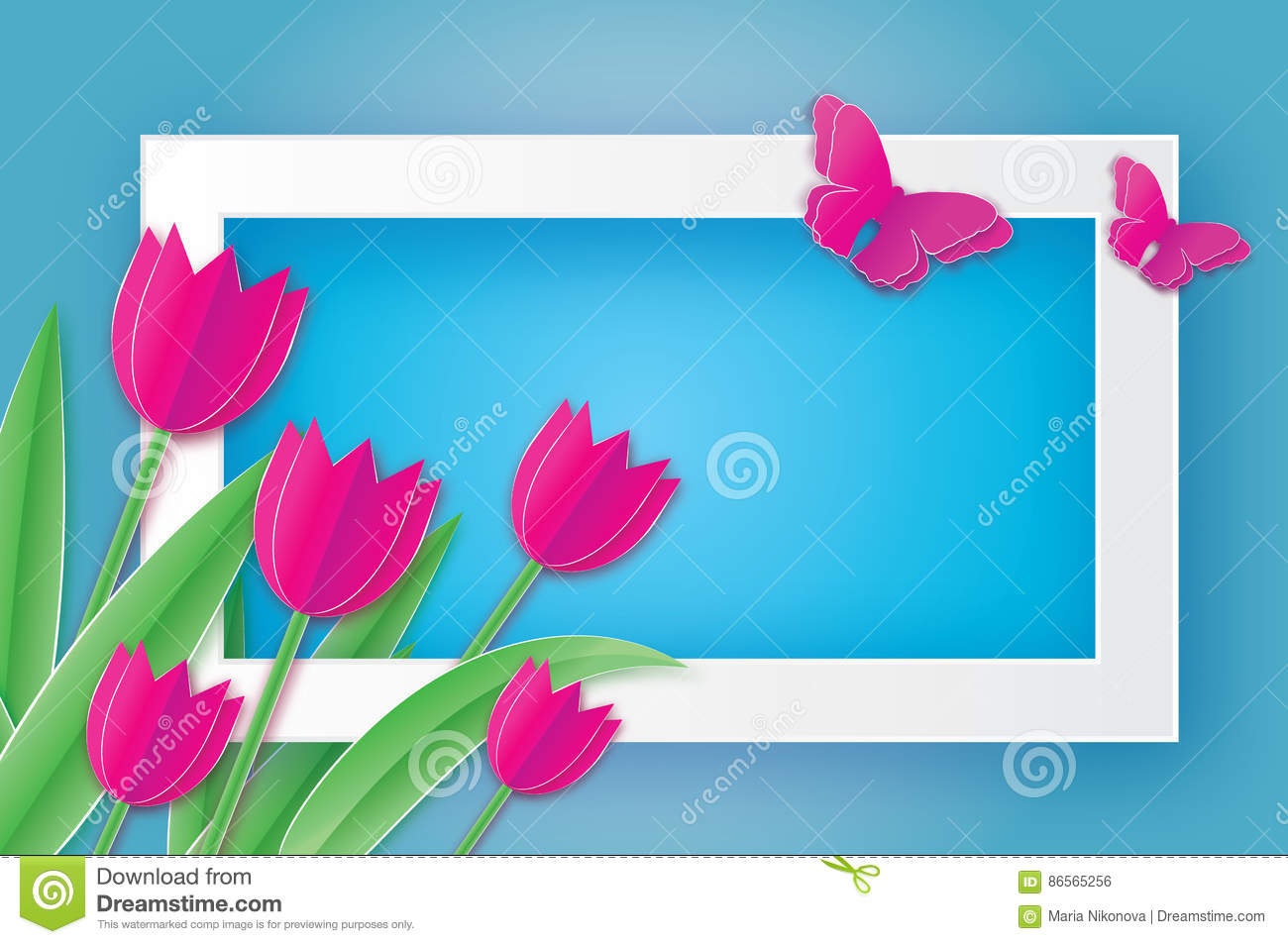 Pink Tulips and Butterfly. Paper cut flower. 8 March. Women`s Day.