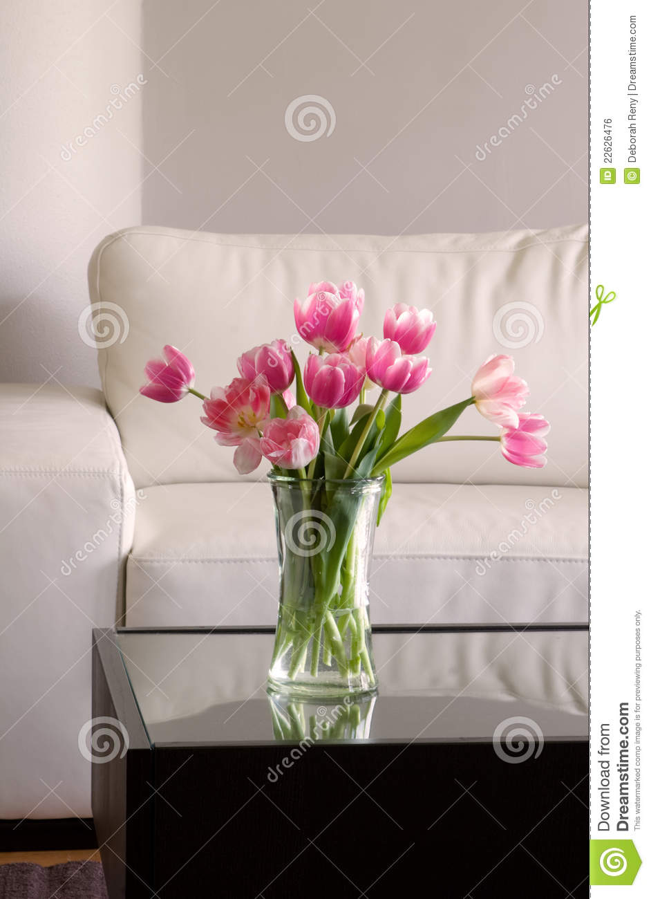 Pink tulips in modern living room
