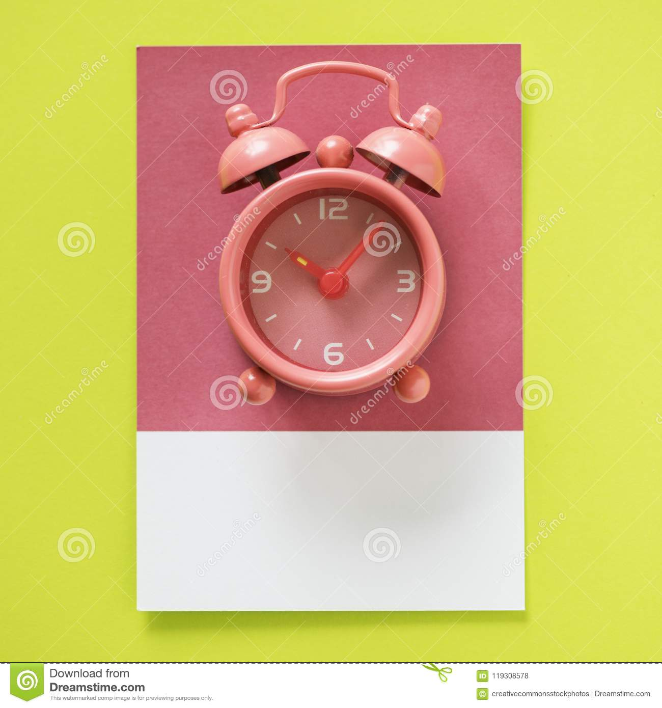 Pink Twin Bell Alarm Clock At 10:06 Picture  Image: 119308578