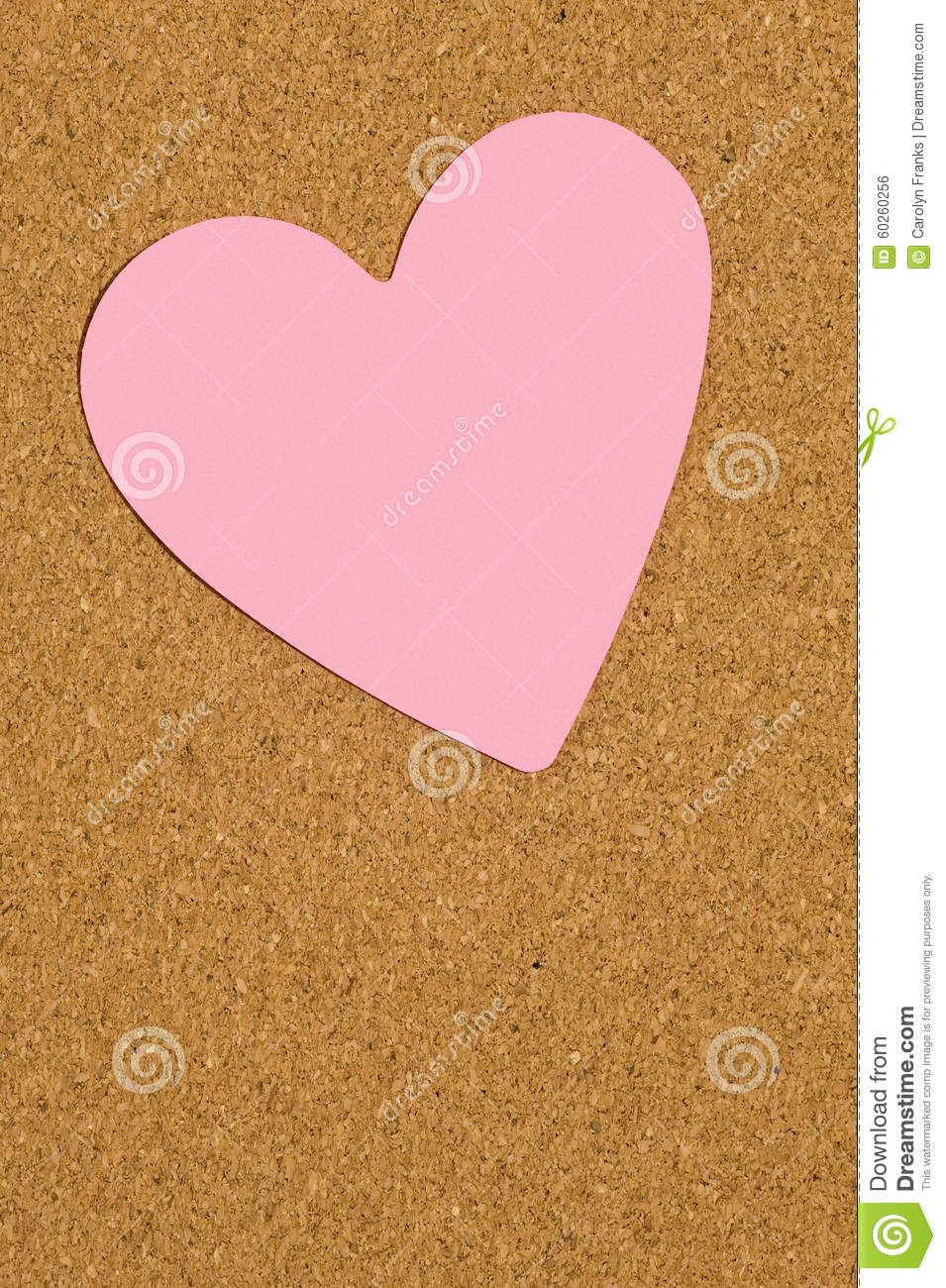 Pink valentine postit note on office corkboard stock photo for Heart shaped bulletin board