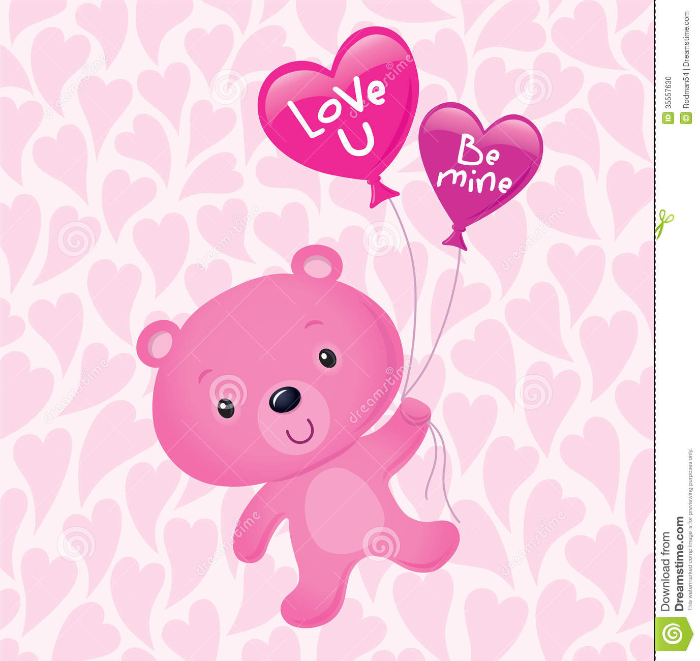 Pink Valentine's Bear With Balloons Stock Photo - Image ... Pink Teddy Bears With Hearts Wallpaper