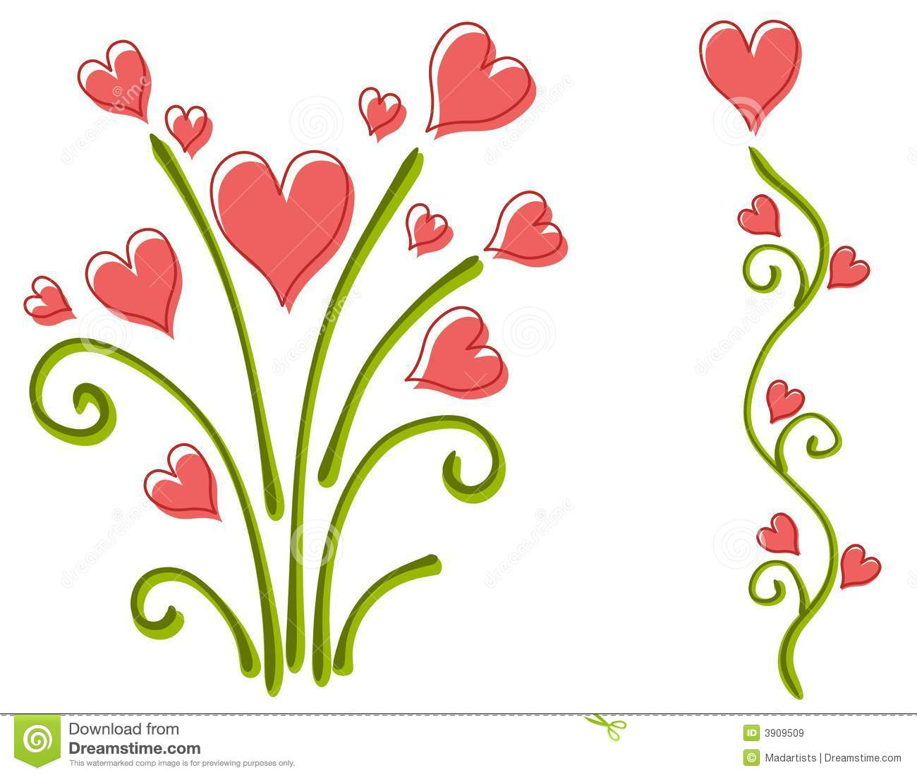 clip art illustration of your choice of 2 pink valentine's day ...