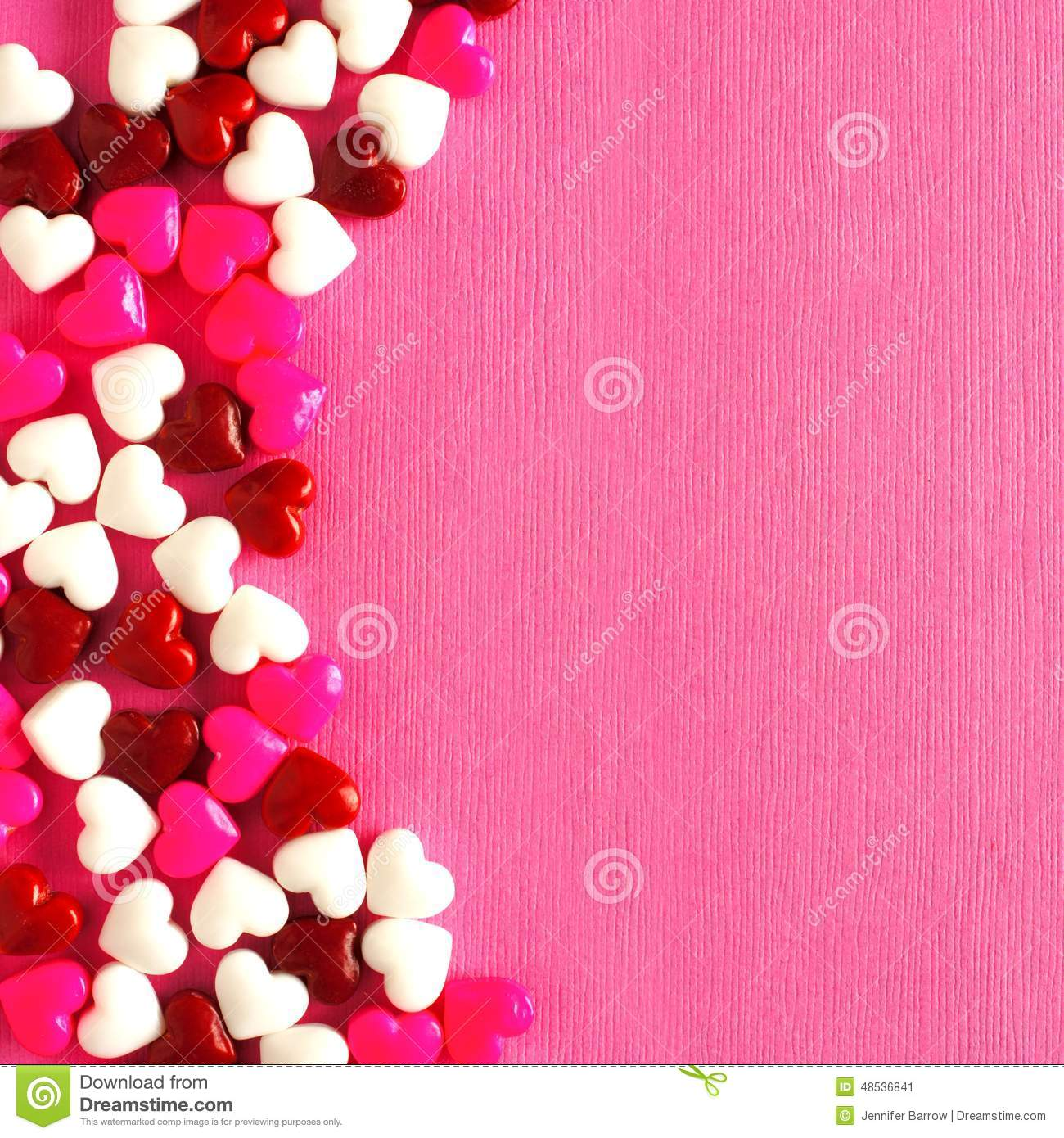 Pink Valentines Day Background With Candy Heart Border Stock Image