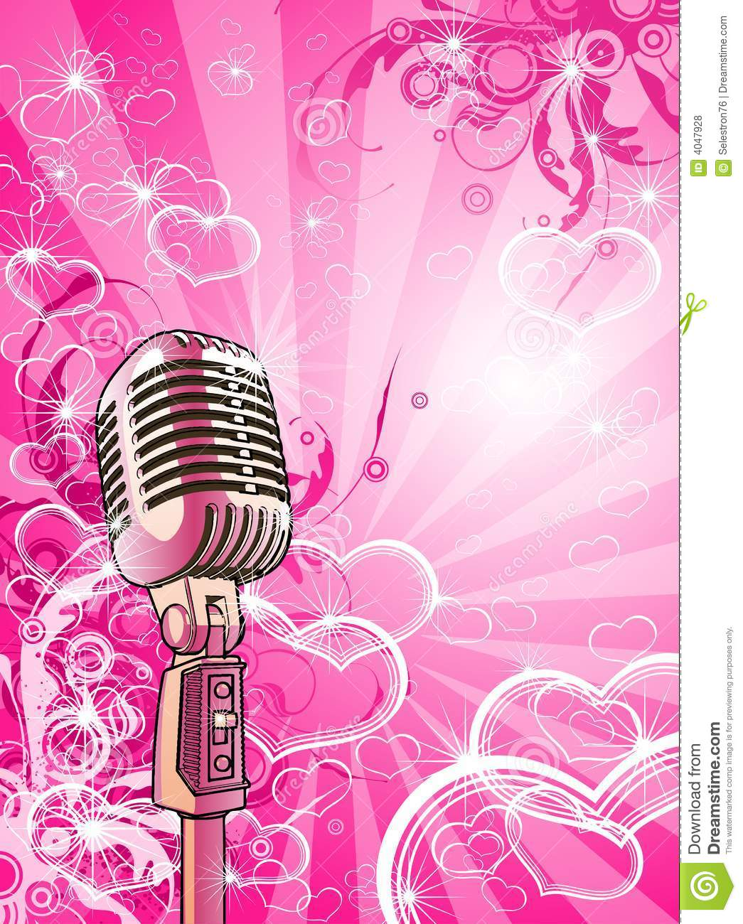 pink valentines microphone royalty free stock photos