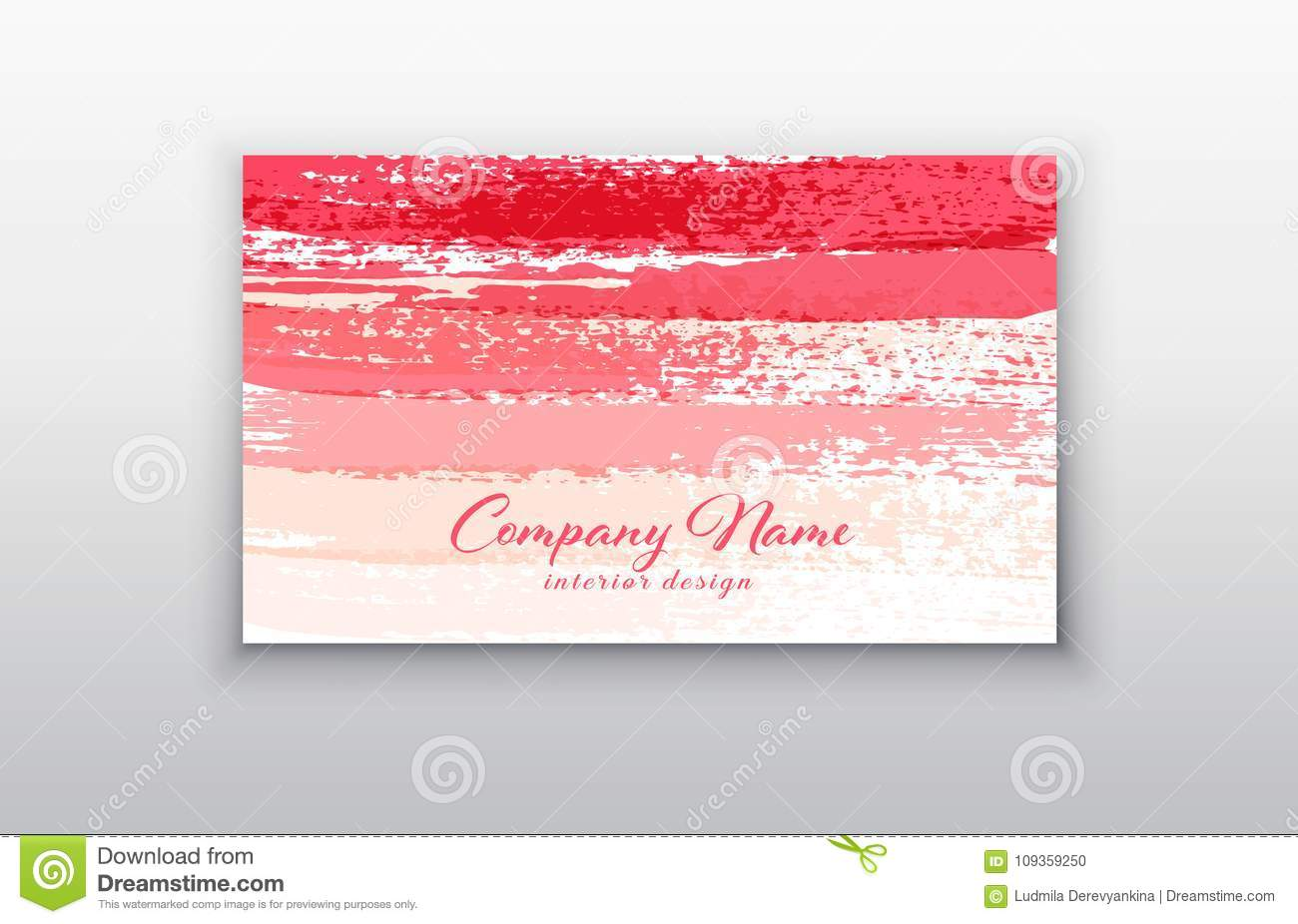 Pink Vector Business Card Templates With Brush Stroke Background