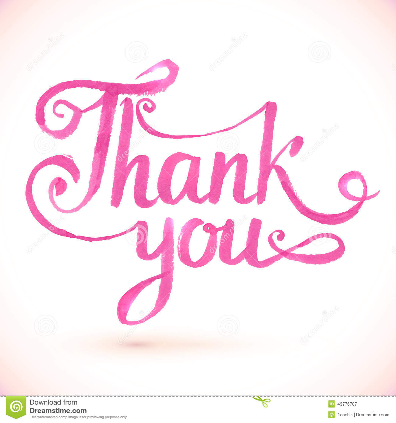 Pink Vector Thank You Hand Drawn Sign Stock Vector Image