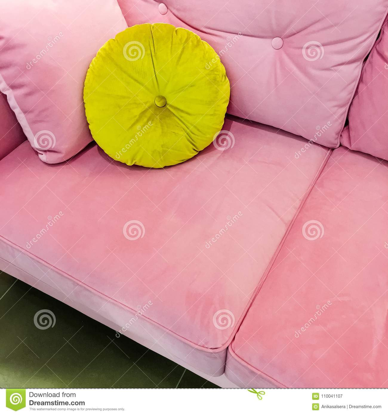 Picture of: Pink Velvet Sofa With Fancy Green Cushion Stock Image Image Of Comfortable Pillow 110041107