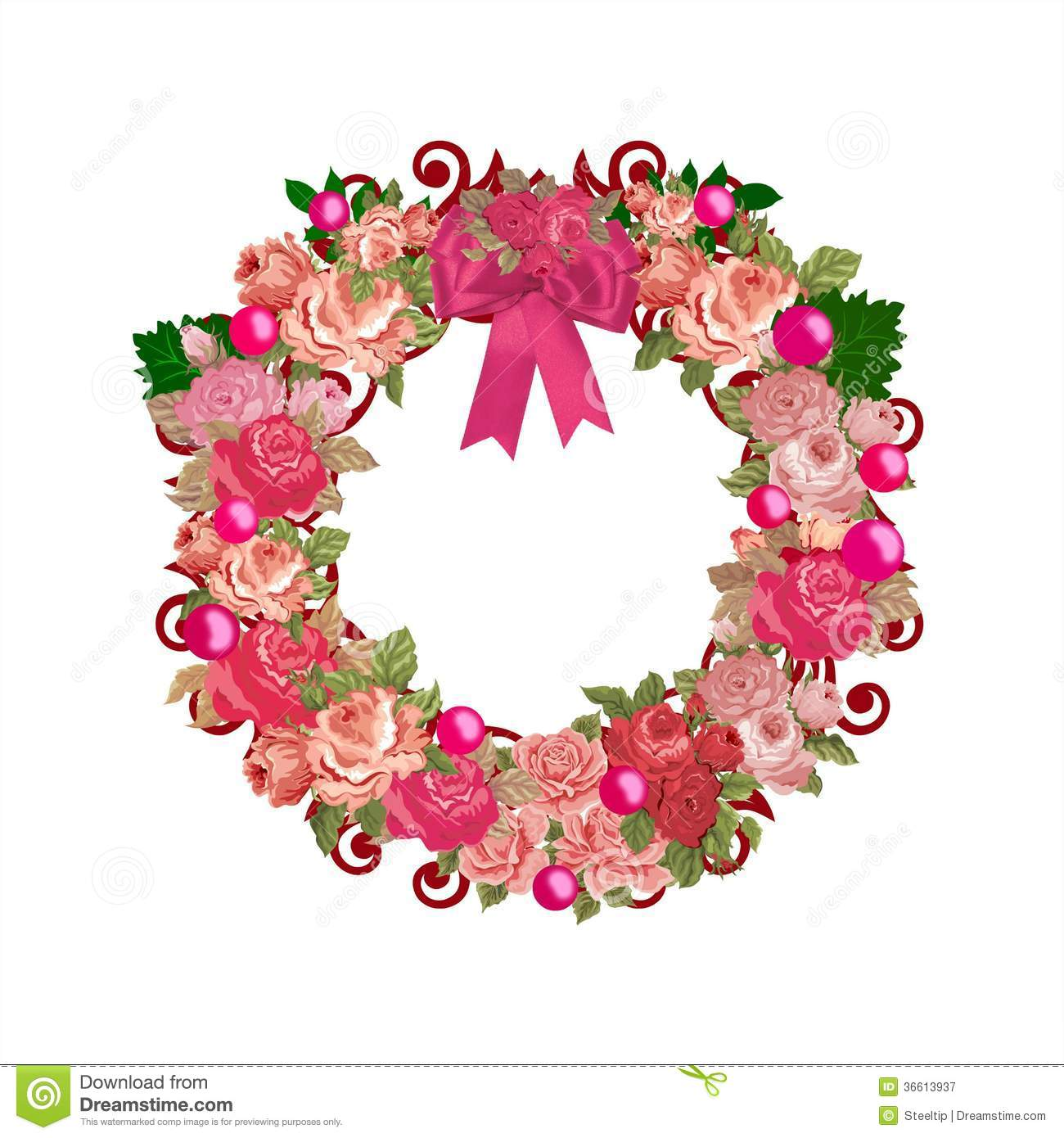 Pink Vintage All Purpose Floral Wreath Stock Image Image