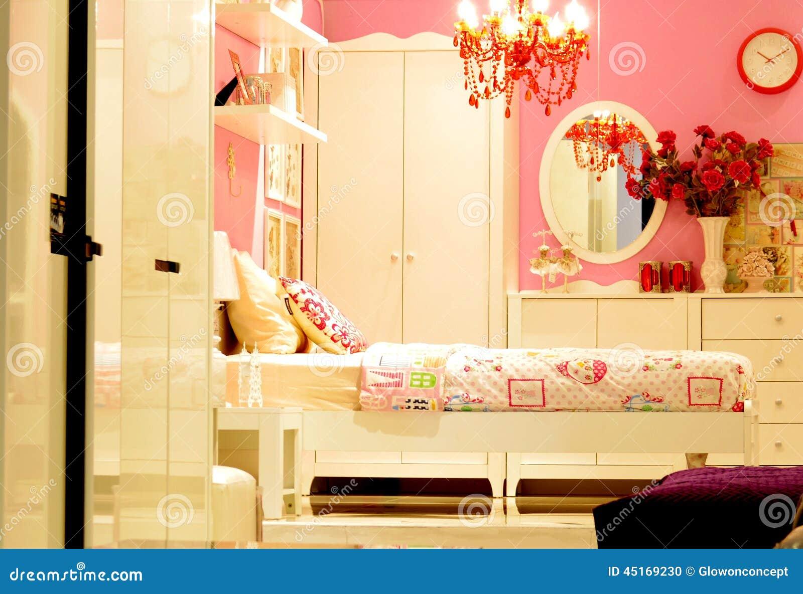 Pink Vintage Bedroom Interior Design Stock Photo - Image of design ...