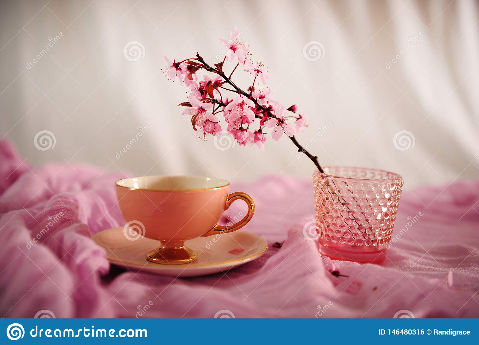 Pink Vintage Coffee Cup and Cherry Blossoms