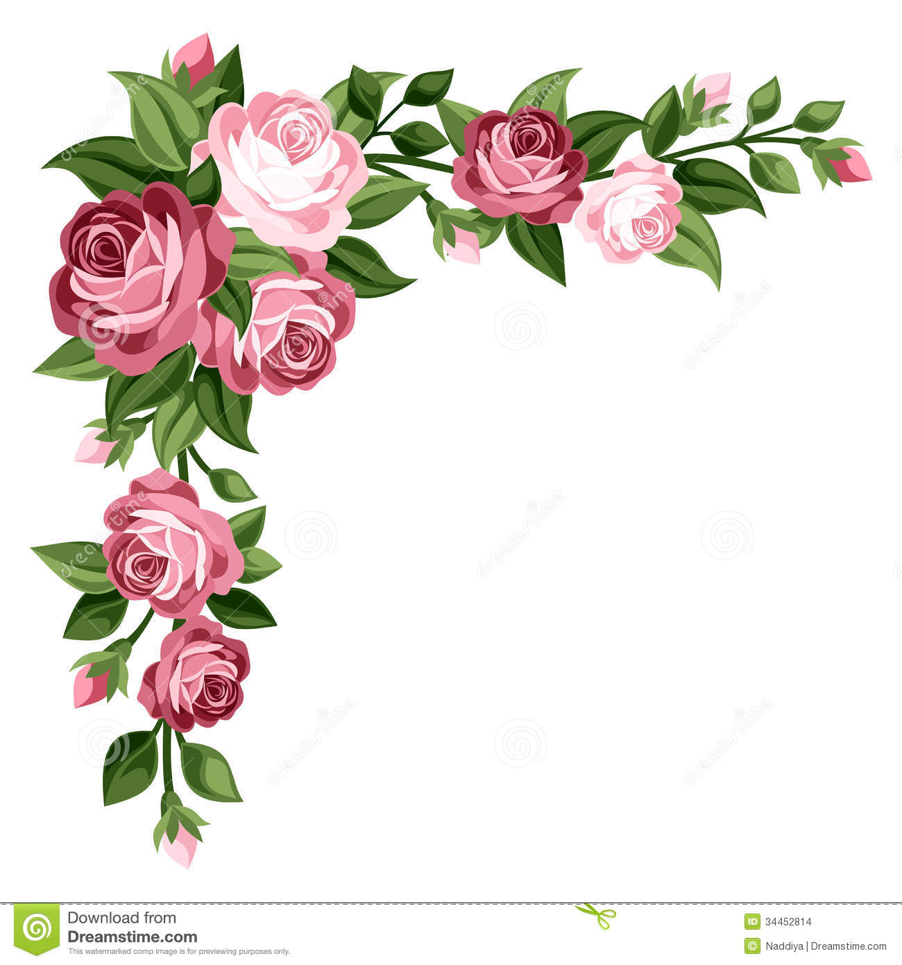 Pink Vintage Roses Rosebuds And Leaves Stock Vector Illustration