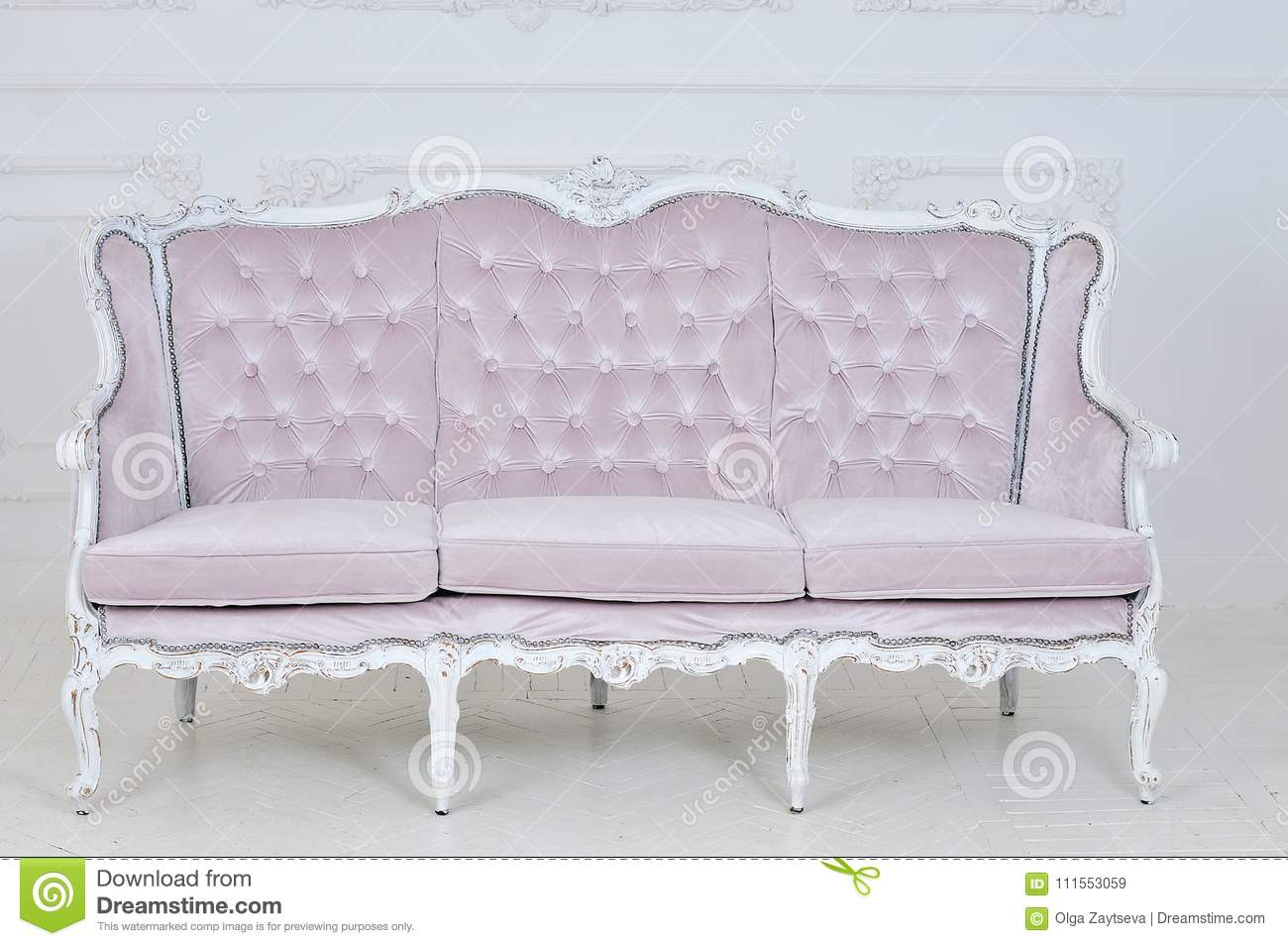 Pink Vintage Sofa On A Gray Background