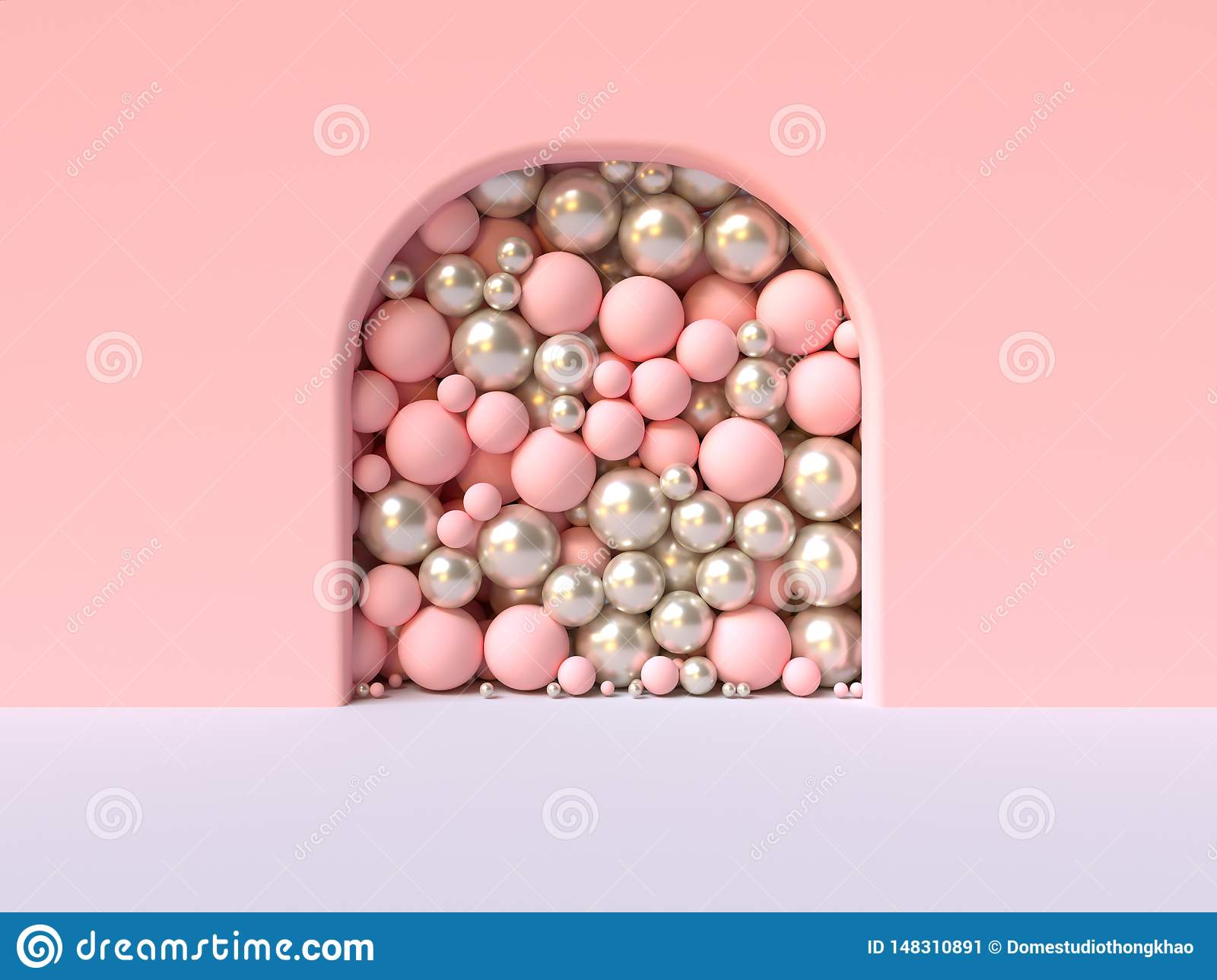 Pink wall white floor abstract curve door  pile ball/sphere in side 3d rendering