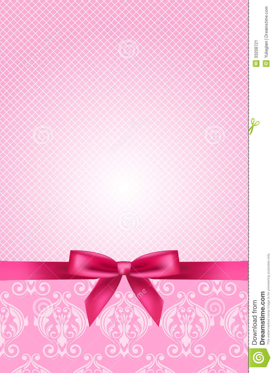 pink wallpaper with bow stock vector  image of card