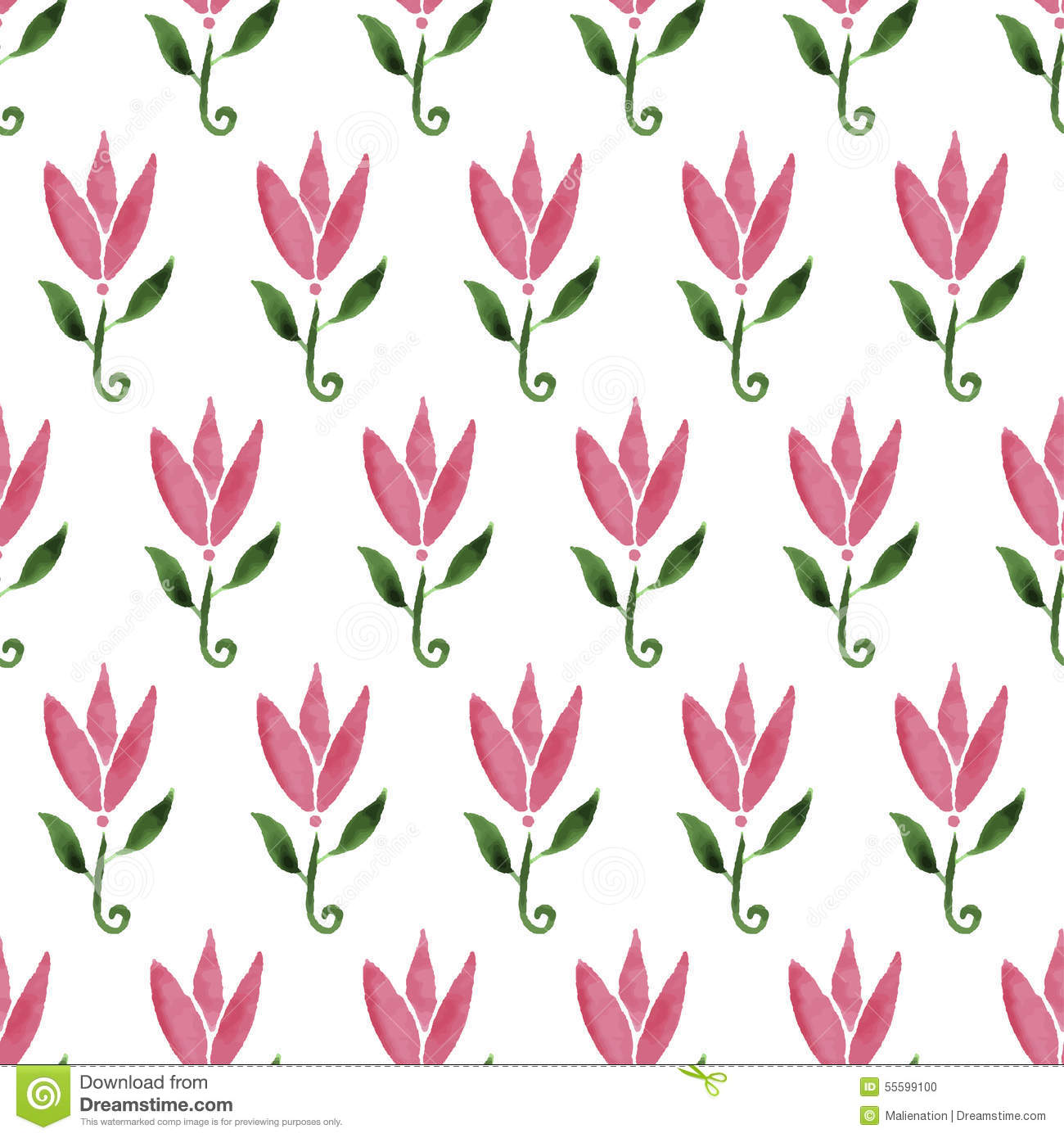 Pink Watercolor Cartoon Flower Tulip Hand Drawn Seamless Pattern