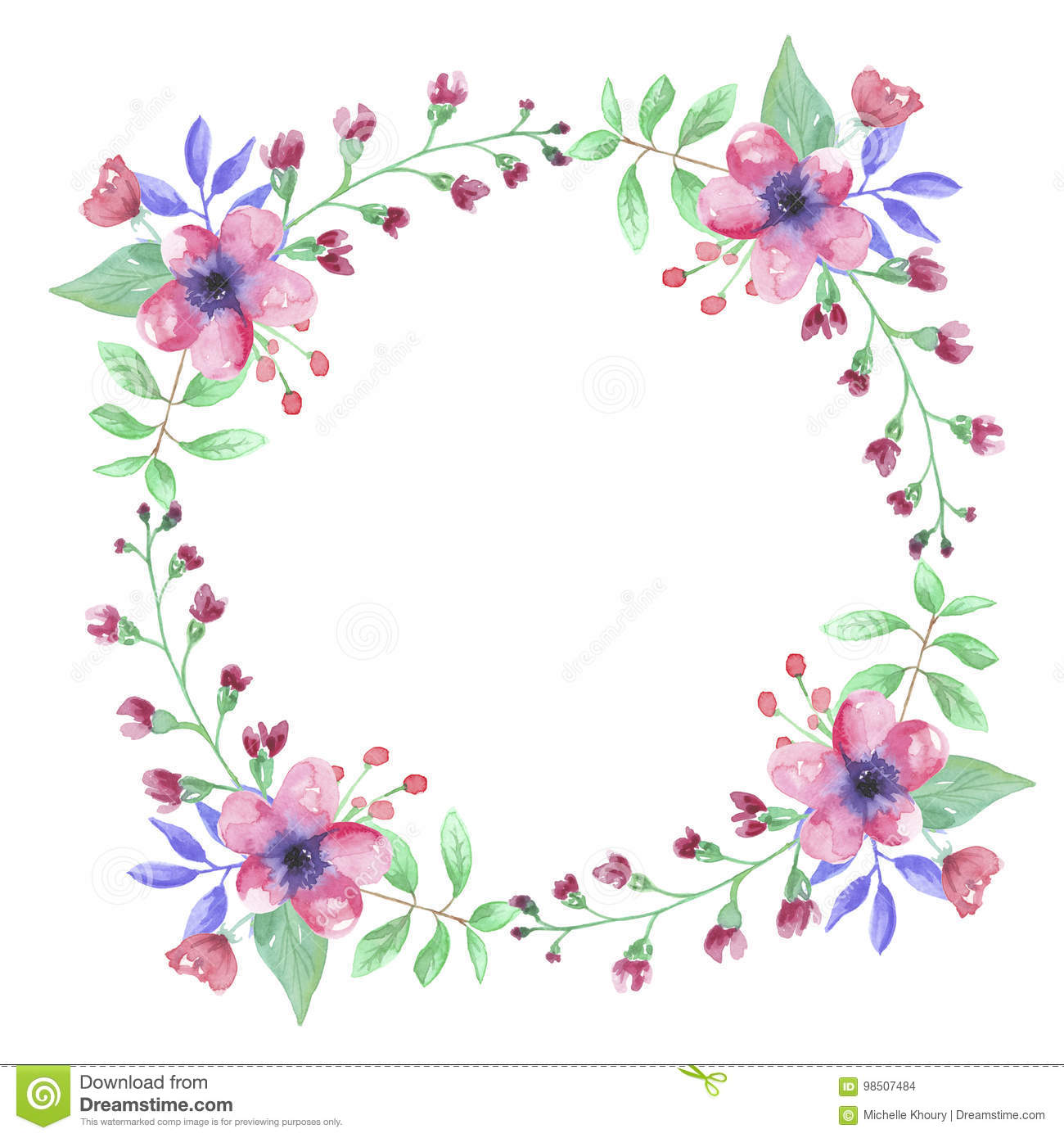 Pink Watercolor Flower Hand Painted Garland Floral Wreath ...