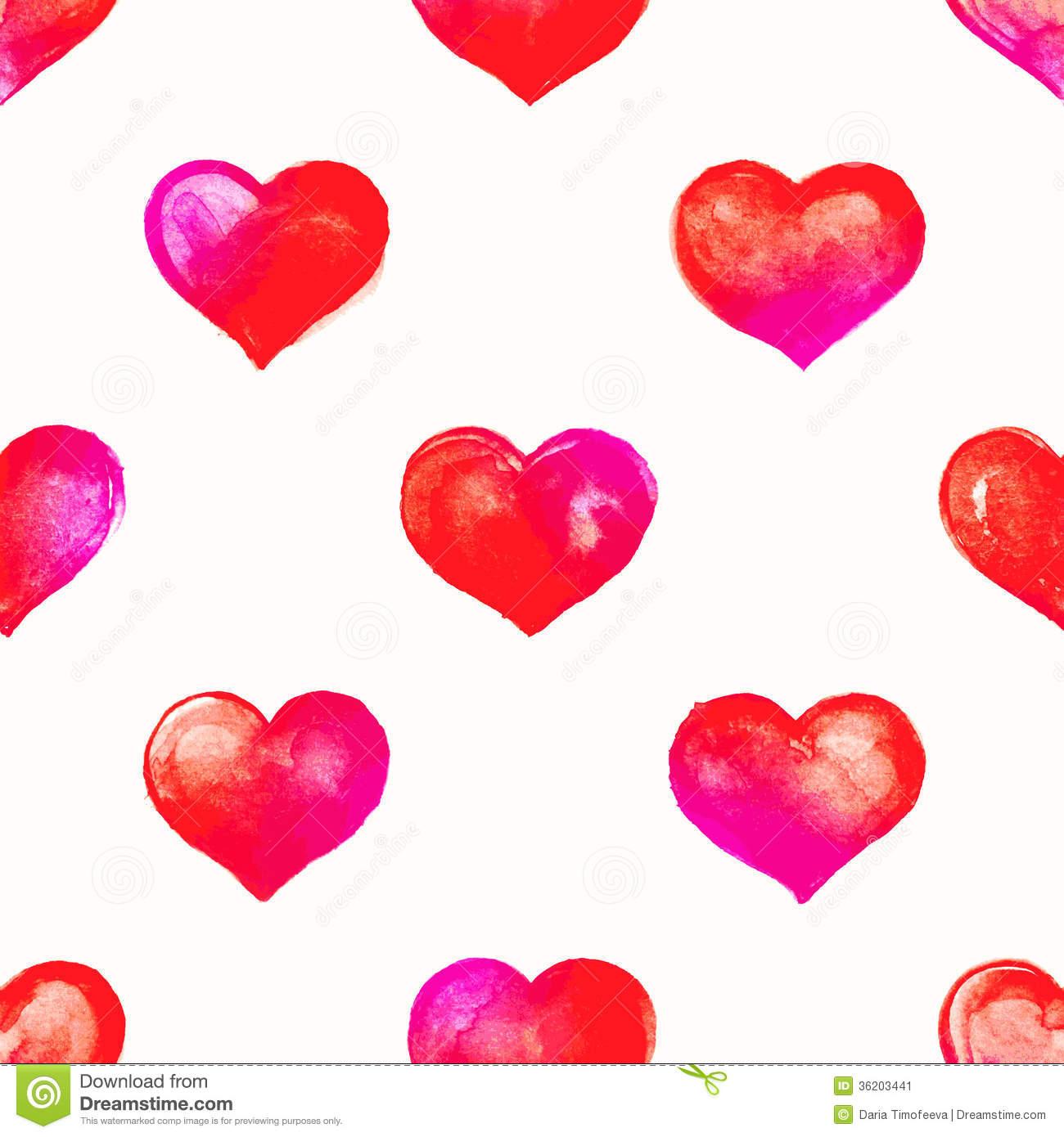 Stock vector seamless pattern of purple and pink watercolor hearts on - Pink Watercolor Hearts Stock Image Image 36203441