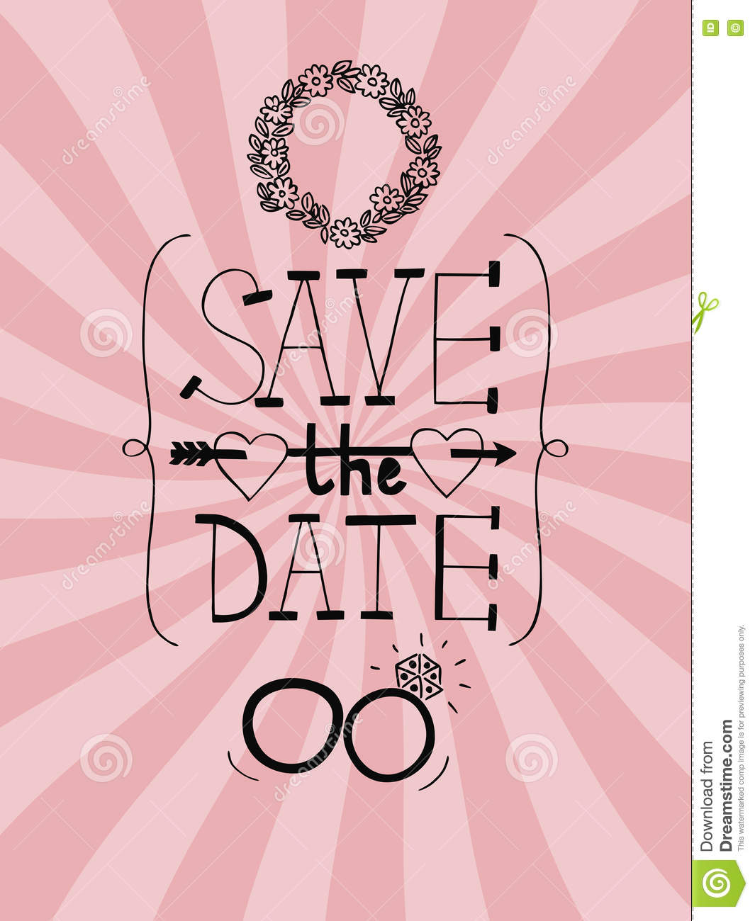 Pink Wedding Background With Words Save The Date Stock Vector ...