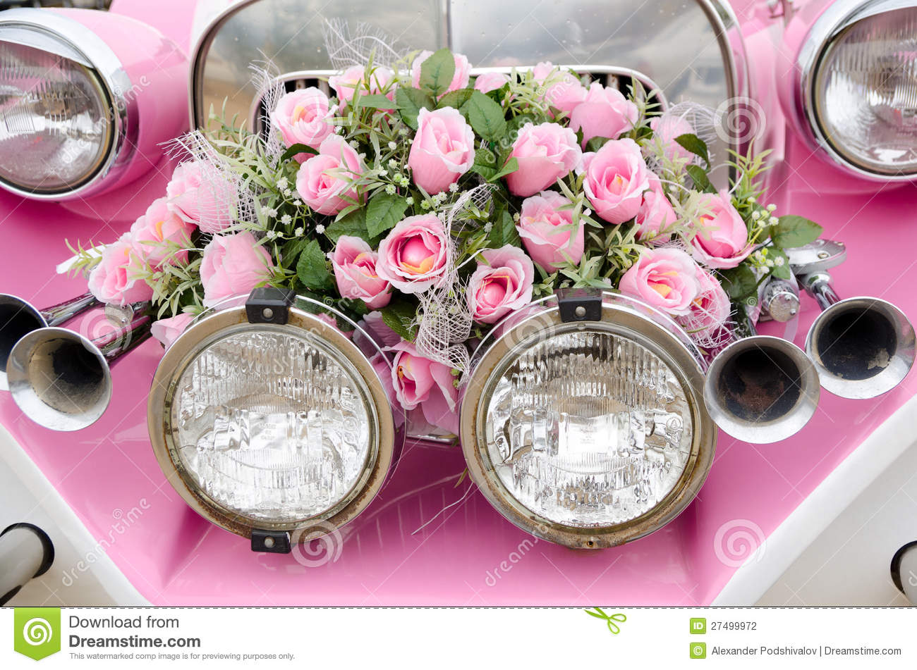 Pink wedding car stock photo. Image of flowers, bouquet - 27499972