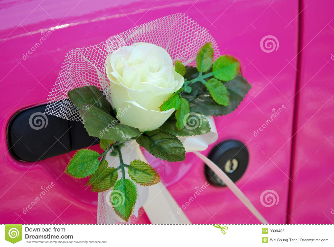 Pink Wedding Car Door With Flower Decoration Stock Image - Image of ...