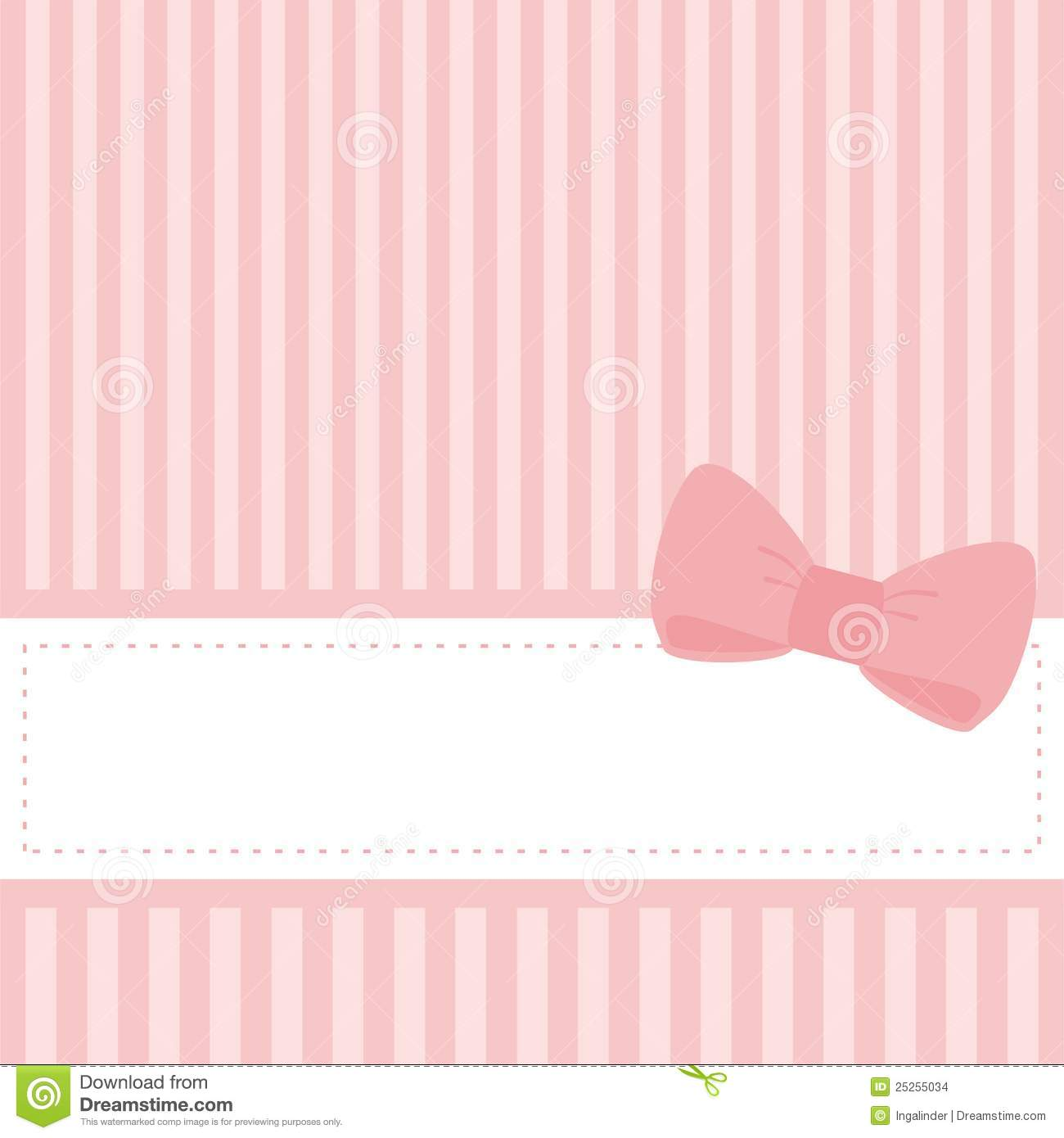 Pink Wedding Card Or Baby Shower Vector Invitation Stock