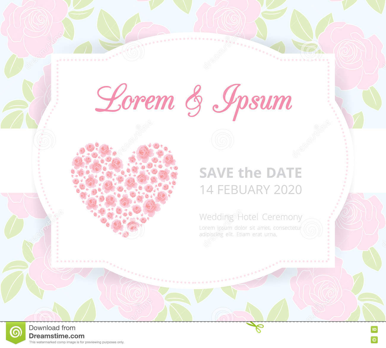 pink wedding card template label on rose shape pattern background vintage design frame border