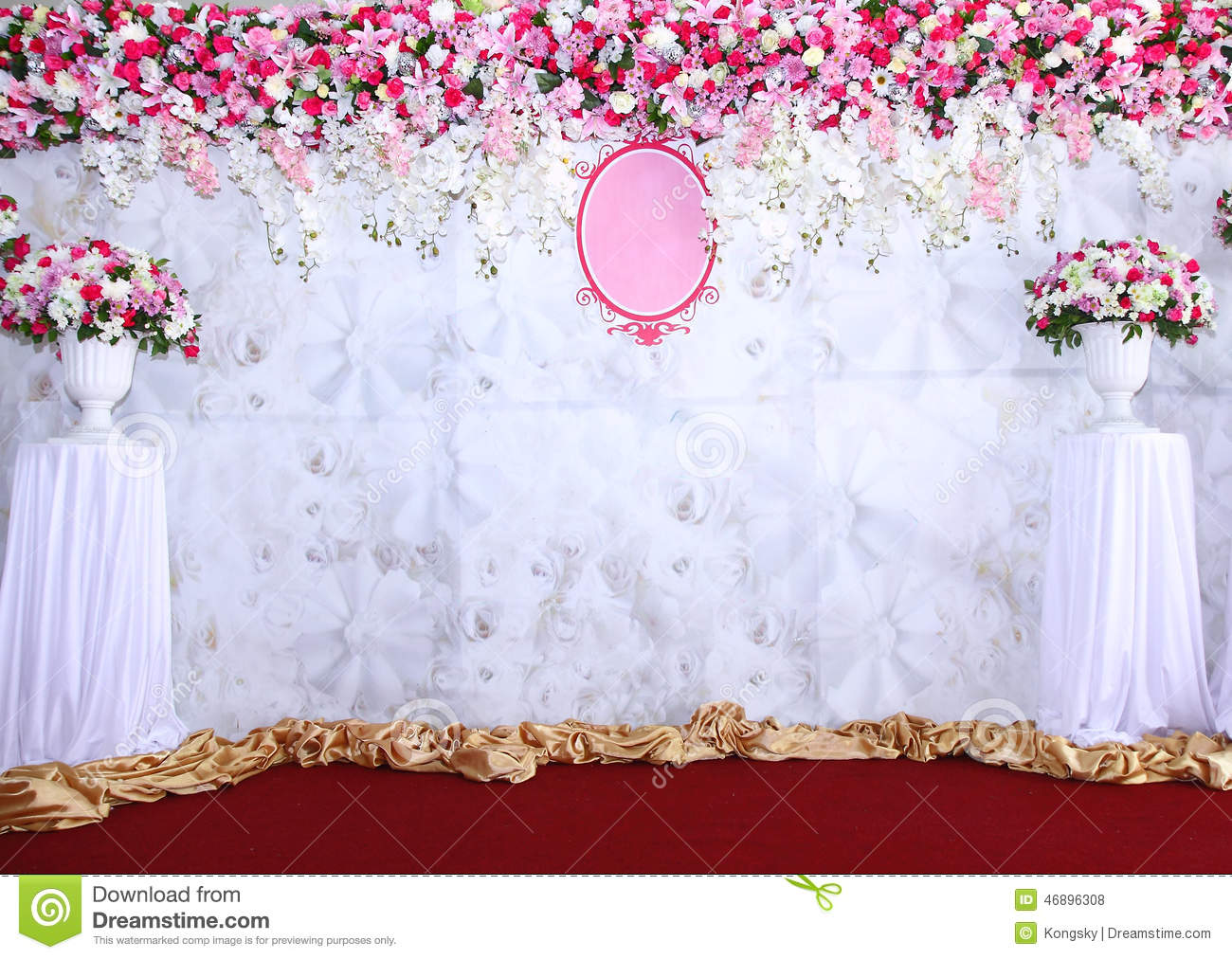 Pink And White Backdrop Flowers Arrangement Ready For Wedding Stock