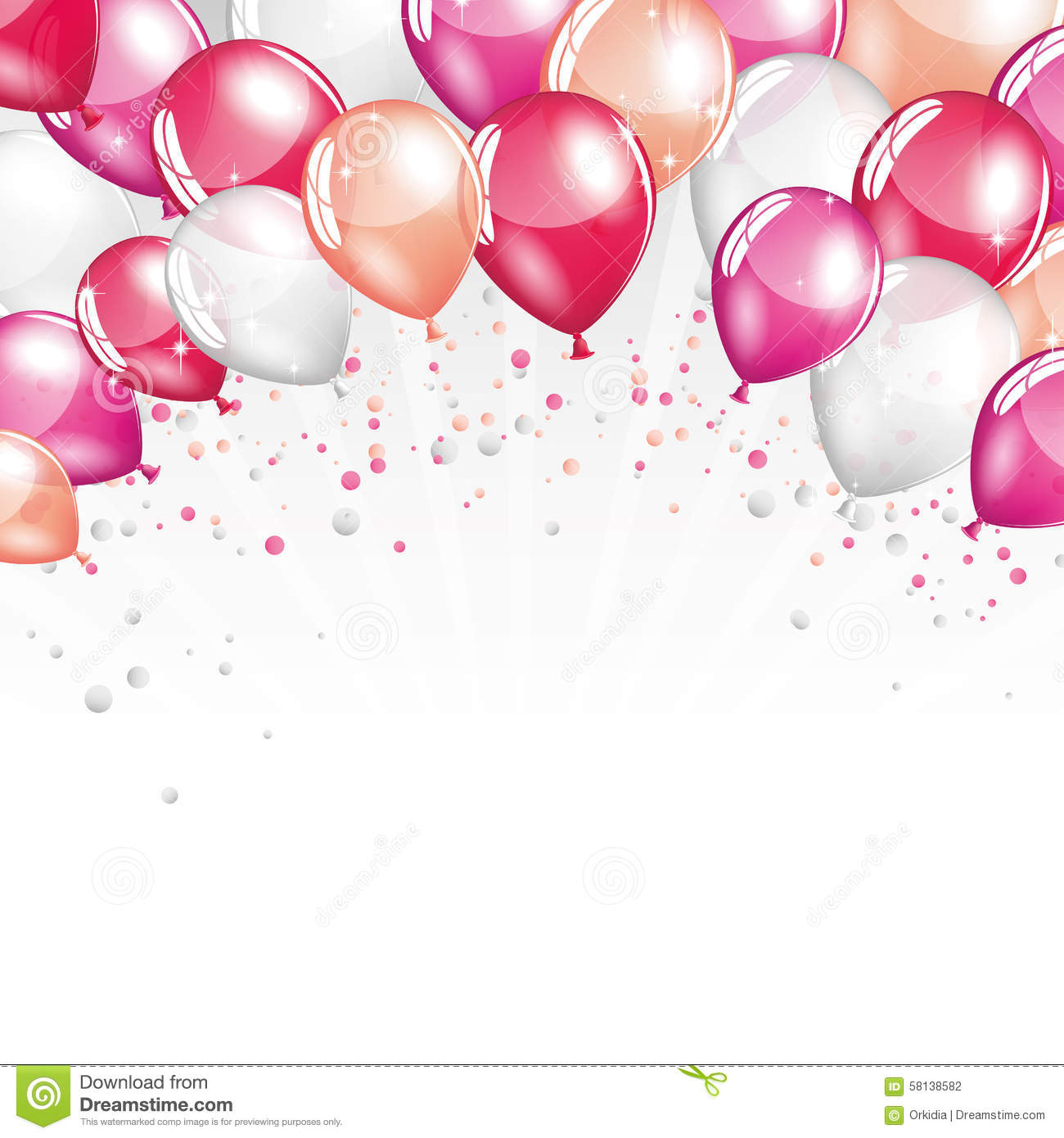 Pink And White Balloons Stock Vector Image 58138582